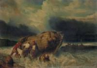 Pêcheurs poussant une barque