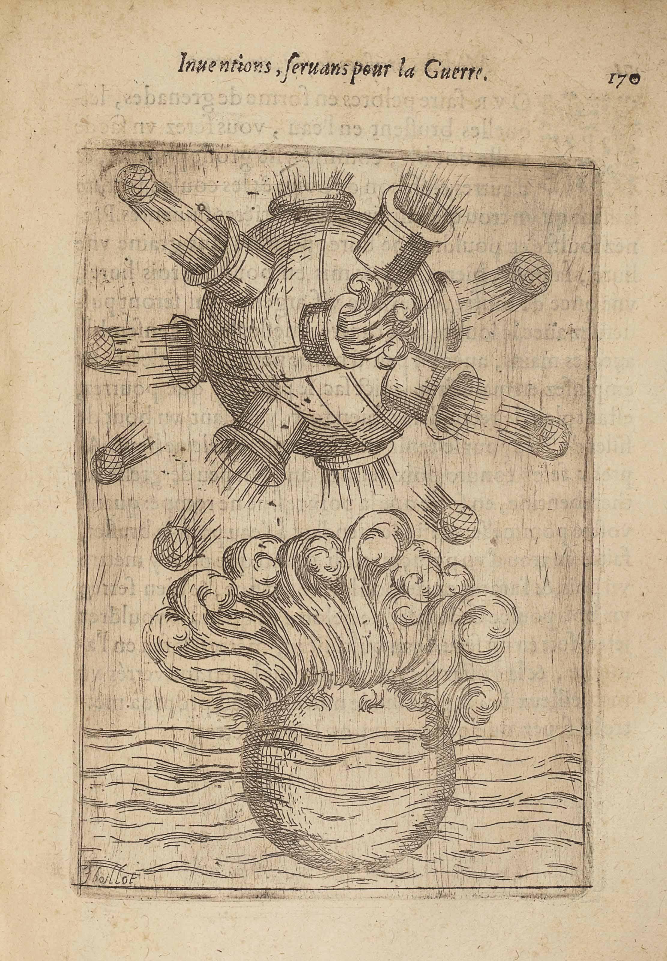 BOILLOT, Joseph (1546-1605). Modelles Artifices de feu et divers instruments de guerre avec les moyens de s'en prévaloir. Chaumont : Quentin Maréschal, 1598. In-4 (236 x 156 mm). Titre entièrement gravé, 90 grandes vignettes dans le texte. Vélin souple de l'époque.