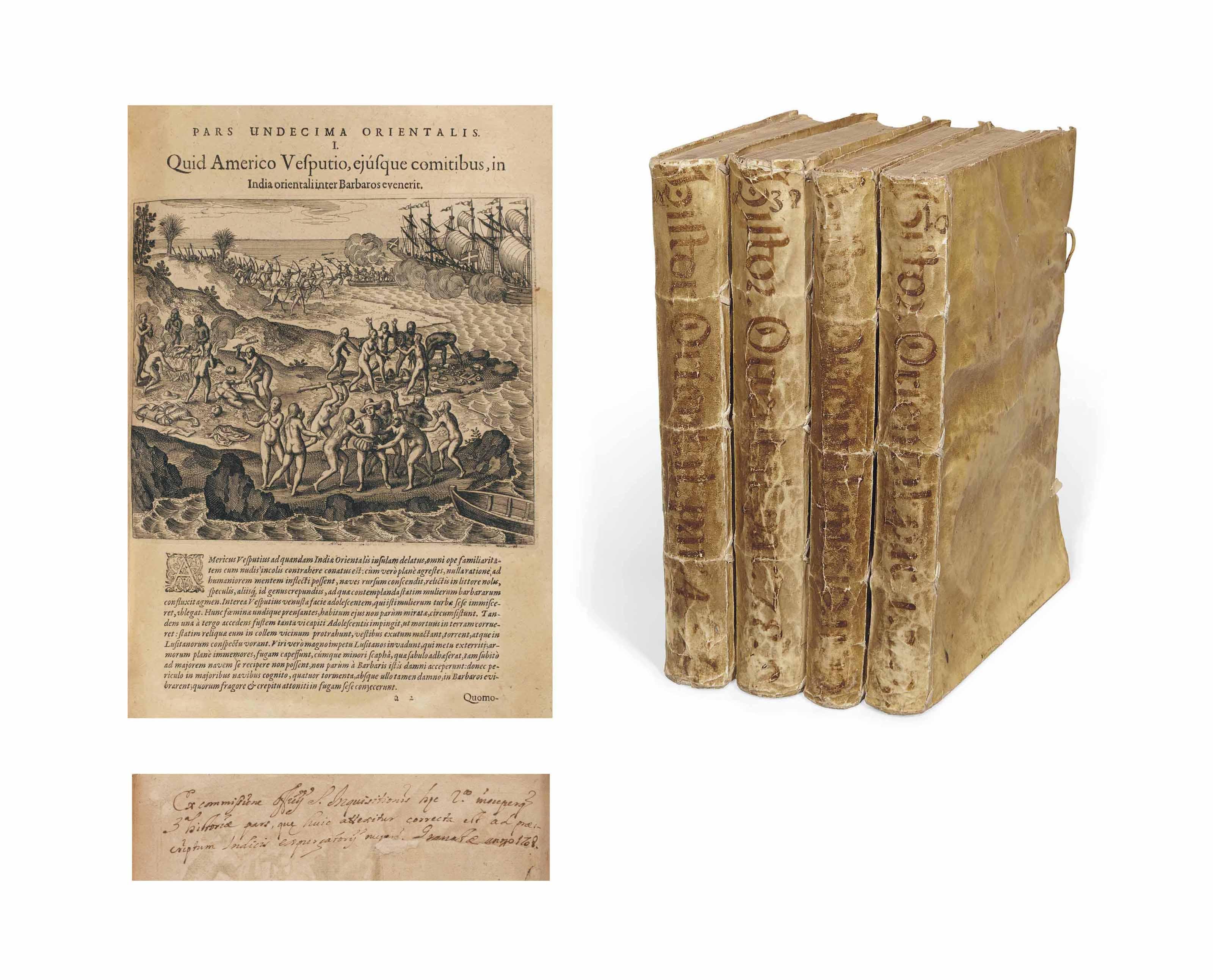 BRY, Théodore de. [Petits Voyages]. Francfort: 1601-1628. 12 livres reliés en 4 volumes in-folio (310 x 210 mm). ADMIRABLEMENT ILLUSTRÉS DE 252 FIGURES, 3 VUES, 17 CARTES, 10 FRONTISPICES ET 3 PLANCHES D'ARMOIRIES, le tout gravé sur cuivre. On trouve en outre, reliées in-fine, 5 cartes et vues gravées (dont une mappemonde et une vue de Jérusalem) provenant du Liber secretorum fidelium crucis de Sanufo publié en 1611. Reliure espagnole de la fin du XVIIe siècle, vélin ivoire souple à lacets, titre manuscrit à l'encre au dos.