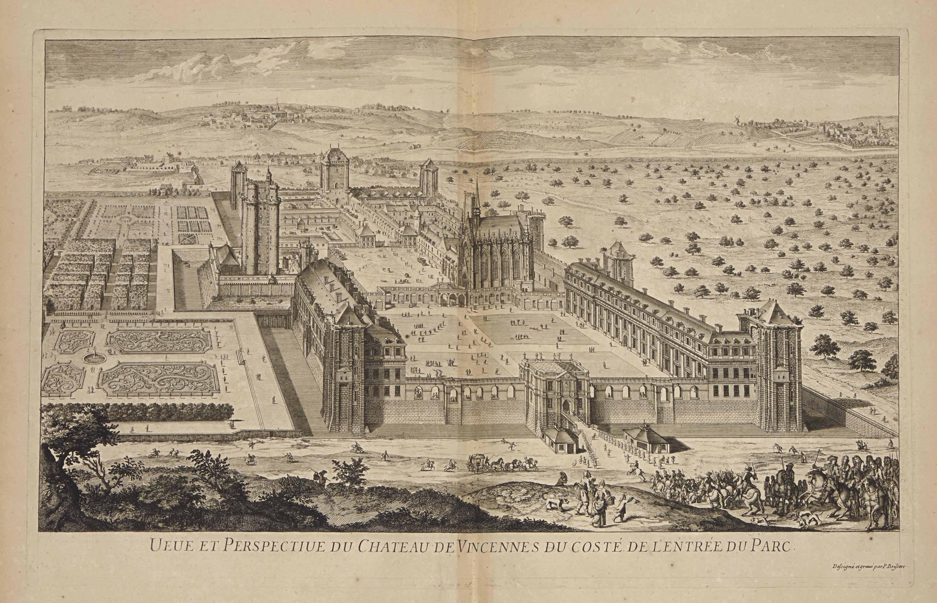 """[CABINET DU ROI] -- [Vues des maisons royales et des villes conquises par Louis XIV.] Sans lieu ni date [Paris: vers 1670]. In-folio (477 x 354 mm). 44 (sur 46) planches sur cuivre dont 16 dépliantes, 25 à double page et 3 à pleine page. Une planche coloriée. Maroquin rouge de l'époque, encadrement à la Du Seuil avec double """"L"""" couronné aux angles, armes de France au centre des plats, dos à nerfs orné du même chiffre et titre doré """"Vues de maisons royales et de villes"""", tranches dorées."""