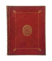 """[FÊTES] -- [CABINET DU ROI] -- PERRAULT, Charles (1628-1703). Courses de Testes et de Bague faittes par le Roy, et par les Princes et Seigneurs de sa Cour, en l'année 1662. Paris: imprimerie royale, Sébastien Mabre-Cramoisy, 1670. Grand in-folio (555 x 410 mm). Faux-titre, un titre gravé sur cuivre par Rousselet, bandeaux et culs-de-lampe répétés et 96 planches gravées par Chauveau et Silvestre, dont 4 planches doubles avec 8 gravures représentant le défilé, 3 grandes planches à double page, 30 gravures de costumes (dont 29 à pleine page et une double figurant le roi en empereur romain) et 55 cartouches de devises gravés imprimés sur 10 pages. Maroquin rouge de l'époque, armes de France au centre des plats, encadrement à la Du Seuil avec double """"L"""" couronné aux angles, dos à nerfs orné du même chiffre, tranches dorées."""