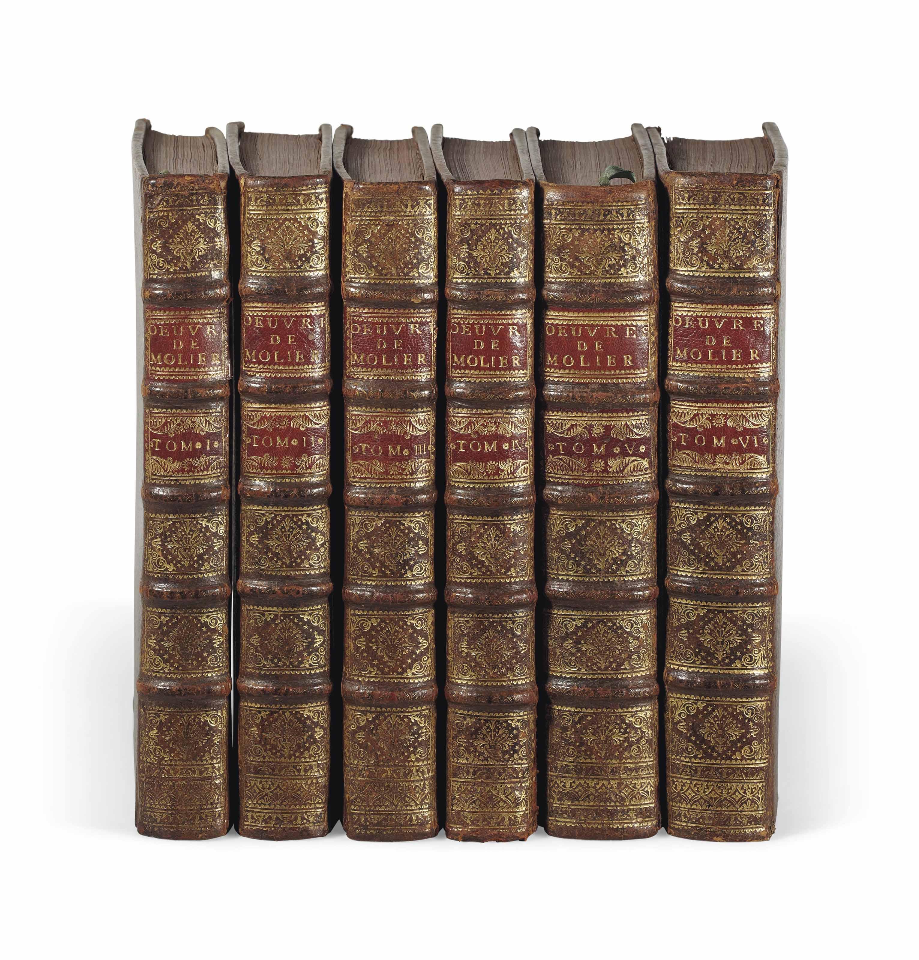 MOLIÈRE (1622-1673). Oeuvres. Nouvelle édition. Paris: [Pierre Prault], 1734. 6 volumes in-4 (286 x 205 mm). Portrait de l'auteur de Coypel gravé par Lépicié, 33 figures hors texte d'après Boucher et très nombreux culs-de-lampe et vignettes gravés par Joullain et Laurent Cars d'après Boucher, Blondel et Oppenord. Veau brun de l'époque, dos à nerfs ornés, tranches rouges.