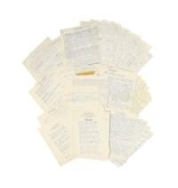ARAGON, Louis (1897-1982). Réunion de 6 manuscrits autographes de textes parus dans la revue Les Lettres françaises. Créée en 1941 par Decour et Paulhan, c'est l'une des nombreuses publications littéraires issues de la résistance. Aragon, déjà collaborateur de la revue pendant la guerre, en a été directeur de 1953 à son dernier numéro en 1972. Tous les feuillets in-4, écrits au recto seul à l'encre bleue.