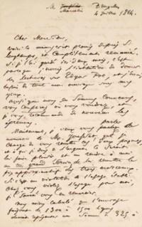 BAUDELAIRE, Charles (1821-1867). Lettre autographe à l'éditeur Louis Marcelin, 2 pages in-8 sur papier à en-tête de l'hôtel du Grand Miroir à Bruxelles, signée et datée Bruxelles, 4 juillet 1864. (Déchirure sans manque.) Montée dans une reliure souple en maroquin brun de Loutrel, étui assorti.