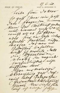 FREUD, Sigmund (1856-1939). Lettre autographe à Sabina Spielrein, 2 pp. in-8 sur papier à en-tête à l'adresse de la Berggasse 19, signée et datée du 17 juin [19]20.