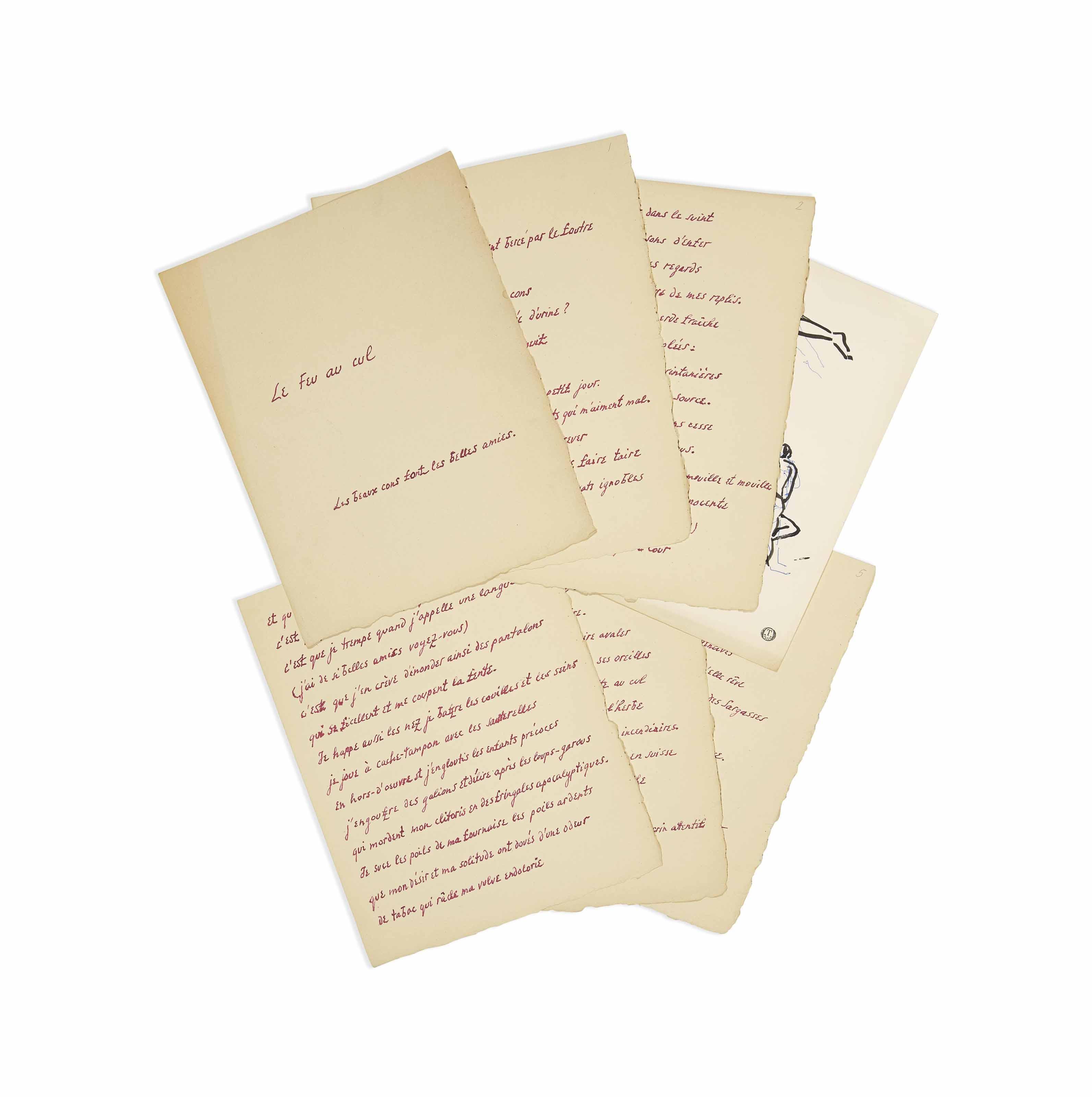"""HUGNET, Georges (1906-1974). Le Feu au cul. Manuscrit autographe signé et daté """"Georges Hugnet, 1932"""". 6 feuillets volants (titre et 5 feuillets de texte) in-4 (287 x 225 mm), encre rouge sur papier."""