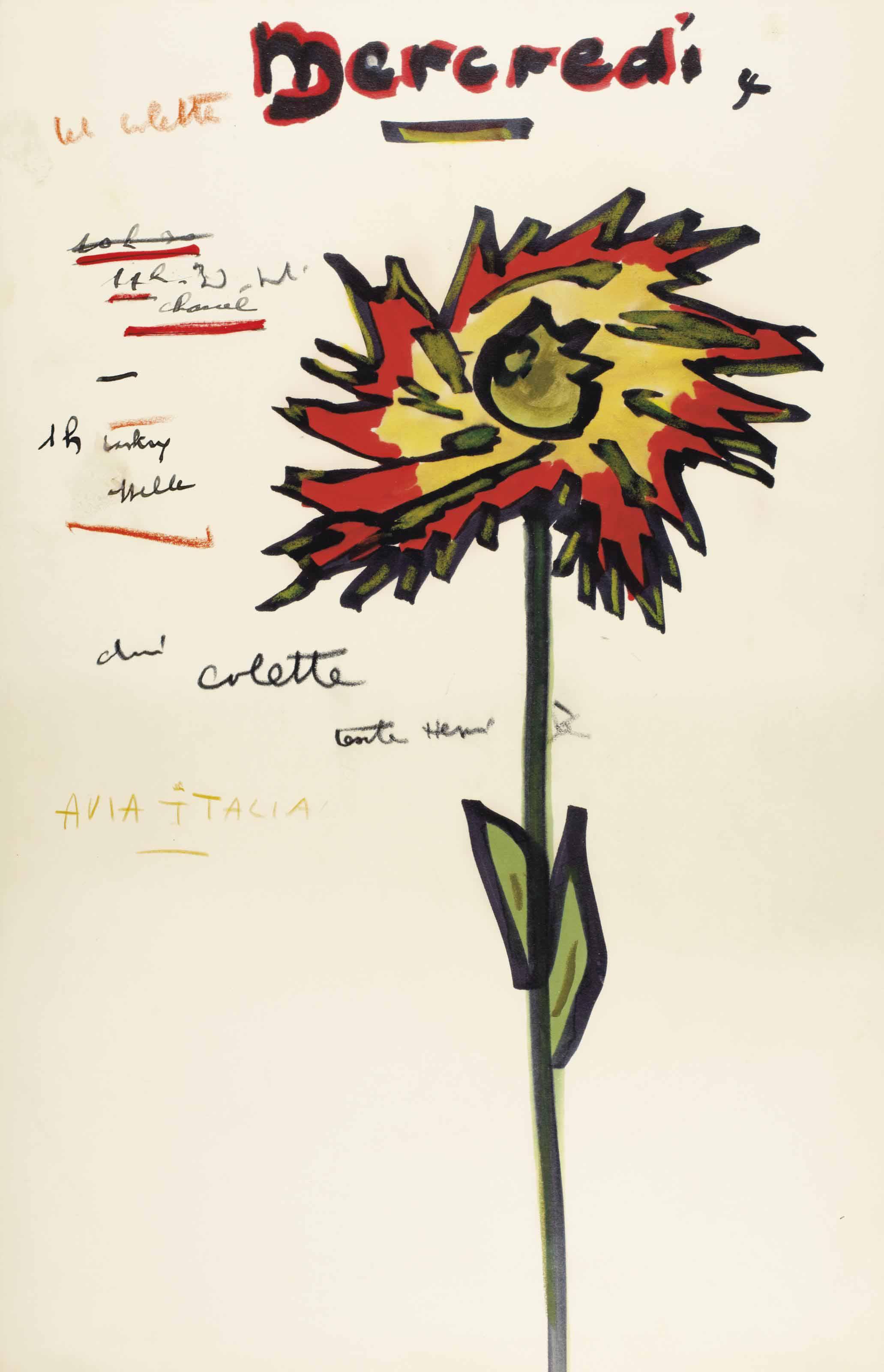 """PRÉVERT, Jacques (1900-1977). Éphéméride, """"Mercredi"""", un feuillet in-folio (417 x 268 mm), dessin original d'une grande fleur multicolore à droite, et notes autographes : """"Tel. Colette, 11h Chaul, Lasky, Avia Italia""""."""