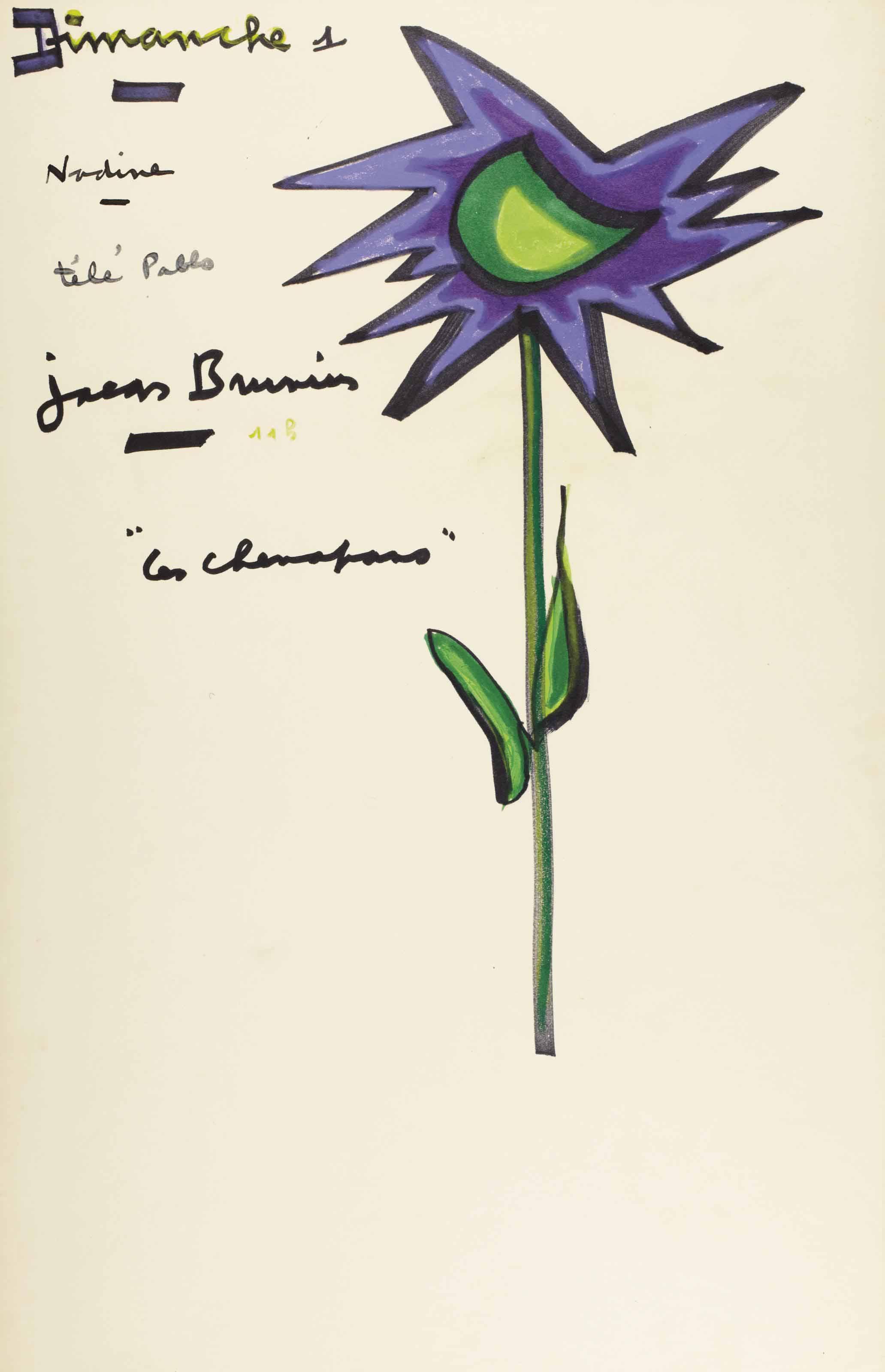 """PRÉVERT, Jacques (1900-1977). Éphéméride, """"Dimanche 1"""", un feuillet in-folio (417 x 268 mm), dessin original d'une grande fleur multicolore à droite, et notes autographes : """"Nadine - télé Pablo [Picasso] - Jacques Brunius""""."""