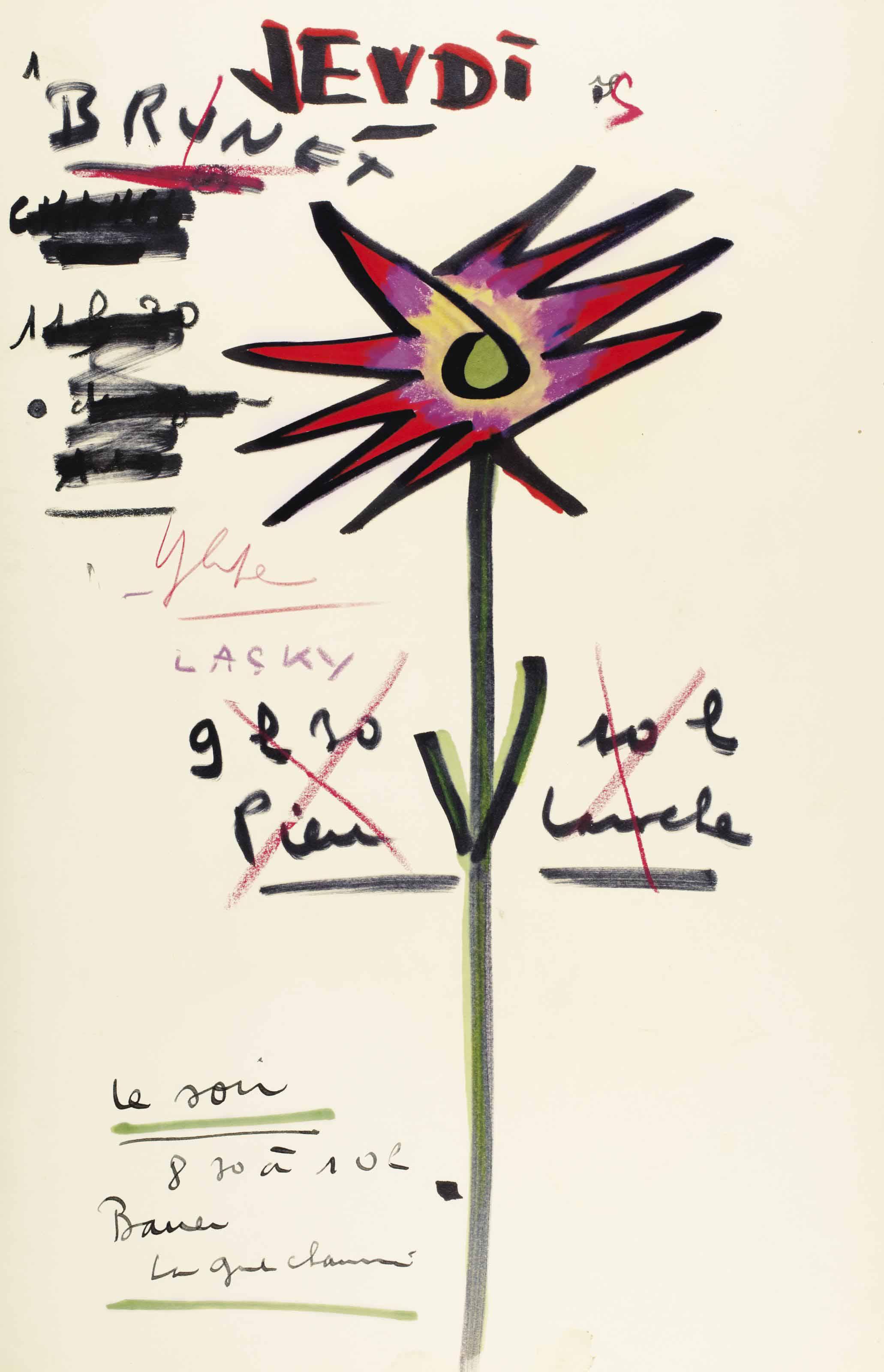 """PRÉVERT, Jacques (1900-1977). Éphémeride, """"Jeudi"""", un feuillet in-folio (417 x 268 mm), dessin original d'une grande fleur multicolore au milieu, notes autographes  et ratures : """"Brunet, Lasky, 9h30 10h Pierre Laroche, le soir 8.30 à 10h Bauer"""". (Petite tache en pied)."""