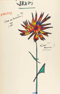 """PRÉVERT, Jacques (1900-1977). Éphémeride, """"jeudi"""", un feuillet in-folio (417 x 268 mm), dessin original d'une grande fleur multicolore à droite, et notes autographes au crayon de couleur rouge et au feutre : """"A. Villers - Valse de Bessières - Notre dame""""."""