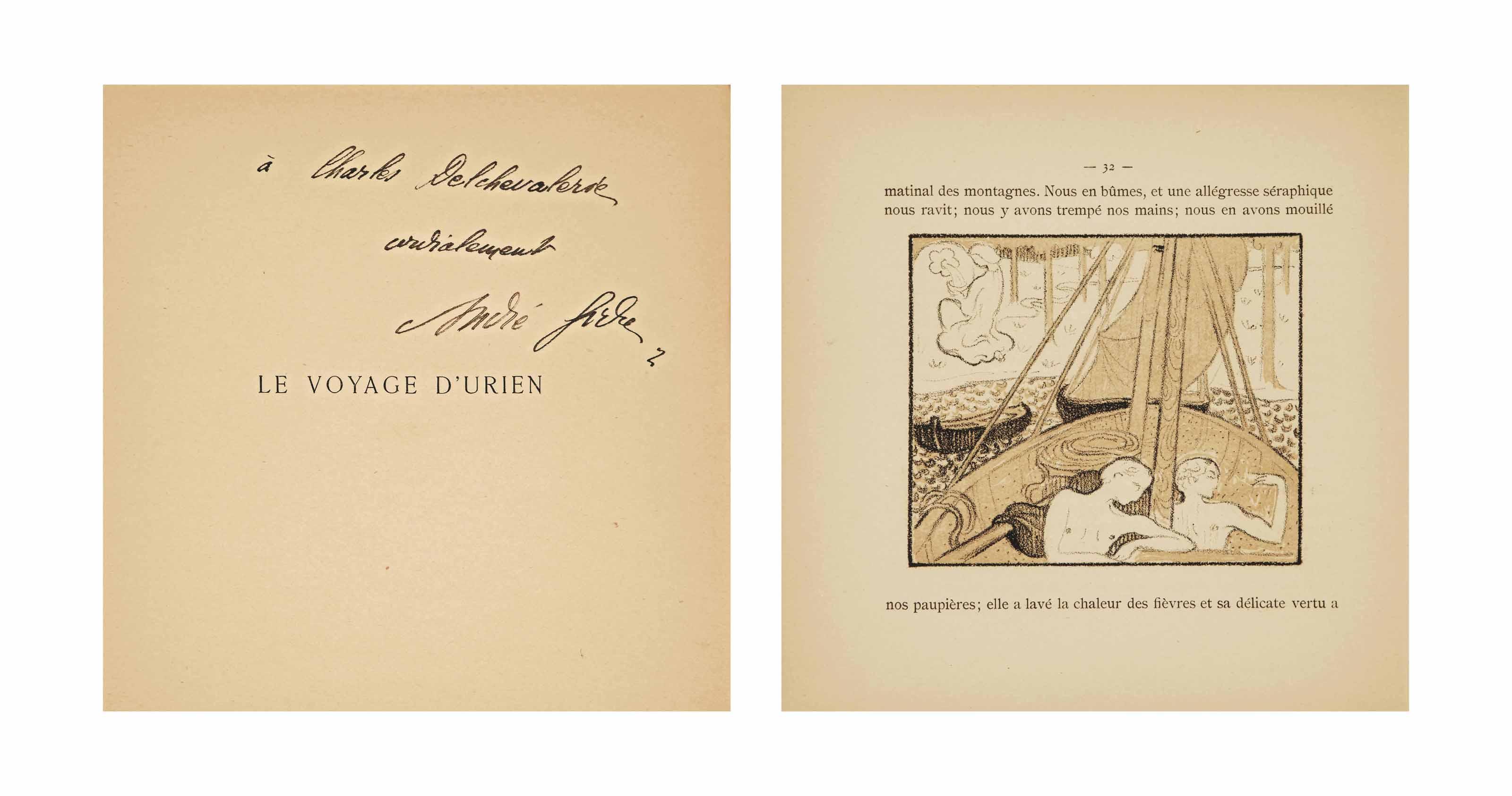 [DENIS] -- GIDE, André (1869-1951). Le Voyage d'Urien. Paris: Librairie de l'Art indépendant, 1893. In-8 carré (200 x 190 mm). Un bois sur la couverture et 30 lithographies originales en camaïeu de Maurice Denis, dont 2 à pleine page. Broché.