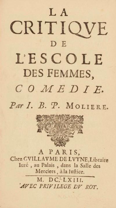MOLIÈRE (1622-1673). La Critiq
