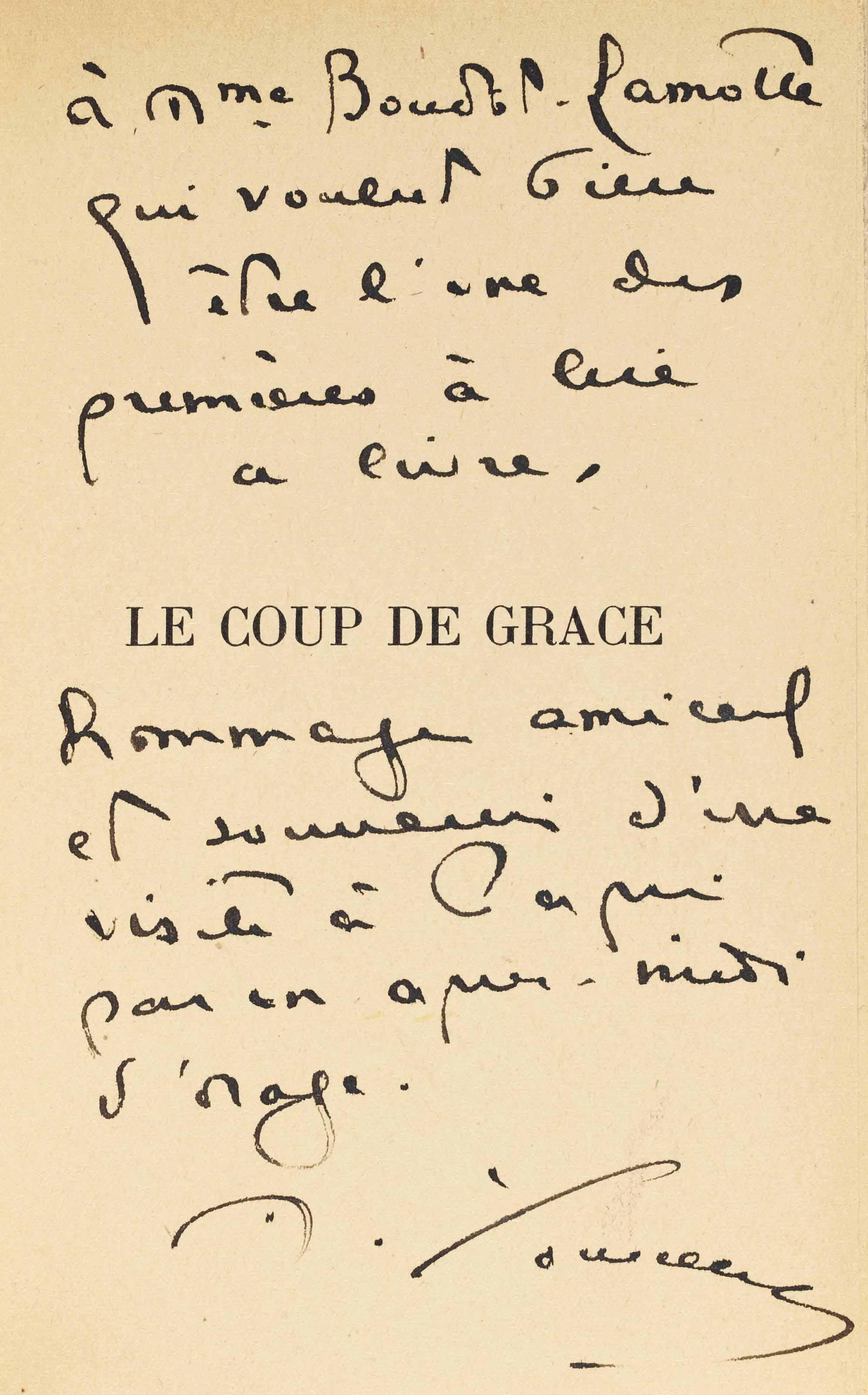 YOURCENAR, Marguerite (1903-1987). Le Coup de grâce. Paris: NRF, 1939. In-8 (190 x 122 mm). Broché.