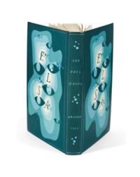 """ARAGON, Louis (1897-1982). Les Yeux d'Elsa. Neuchâtel: éditions de la Baconnière, 15 mars 1942. In-8 (189 x 137 mm). Reliure signée Devauchelle au contreplat, box vert-de-gris, grande composition mosaïquée de box de différents tons de vert s'éclaircissant vers le centre, sur le tout 6 yeux et le nom """"ELSA"""" mosaïqués de box et points carrés à l'oeser bleu-vert, dos lisse portant le titre et des points à l'oeser bleu-vert, tranches dorées sur témoins, doublure et gardes de box sable, couverture et dos, chemise de demi-box et étui."""