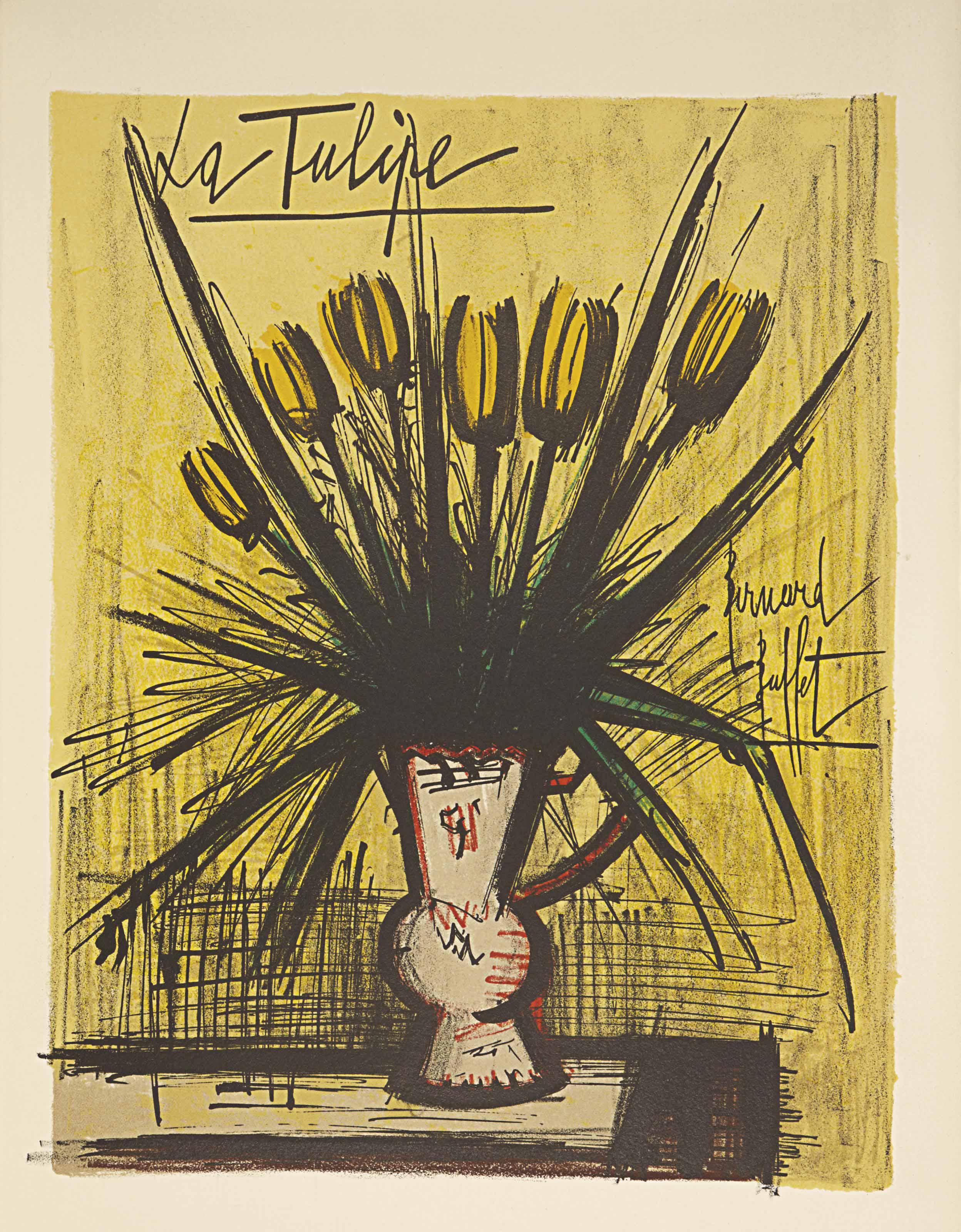[BUFFET] -- VILMORIN, Louise de (1902-1969). Herbier de Bernard Buffet commenté par Louise de Vilmorin. Paris: Mazo, septembre 1966. In-folio (438 x 320 mm). 16 lithographies originales de Bernard Buffet dont un frontispice à double page et 15 à pleine page. En feuilles, chemise et étui de l'éditeur.
