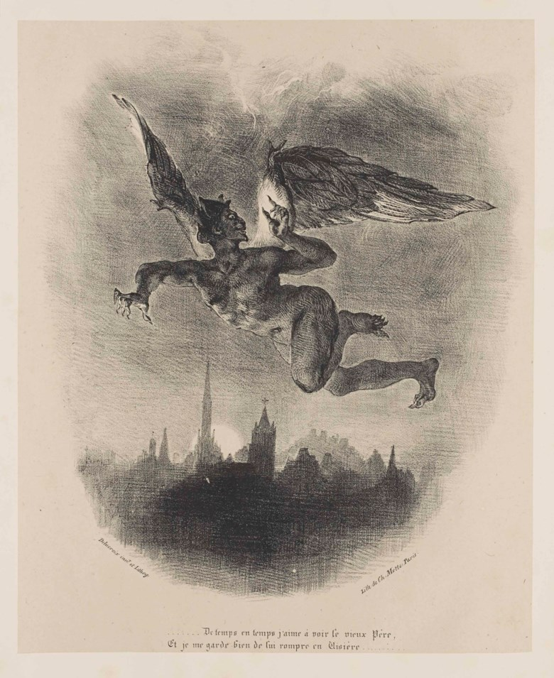 Goethe, Johann Wolfgang von (1749-1832). Faust, tragedy. Translated into French by Mr. Albert Stapfer, adorned with a portrait of the author and 17 drawings executed on stone by Eugène Delacroix, 1828. Sold for €7,875 on 30 April 2014 at Christie's in Paris