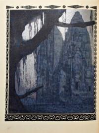 [JOUVE] -- LOTI, Pierre (1850-1923). Un pélerin d'Angkor. Paris: chez Paul Jouve et François-Louis Schmied, 1930. In-folio (326 x 250 mm). Illustrations de bois en couleur et à l'or gravés par François-Louis Schmied d'après les dessins de Paul Jouve dont 10 hors texte et 2 à double page, 13 têtes de chapitre, 13 bandeaux et 13 lettrines, et 11 illustrations dans le texte. Reliure janséniste signée G. de Léotard et datée 1932, maroquin citron, dos lisse, doublure et gardes de moire émeraude, tranches dorées, étui assorti.