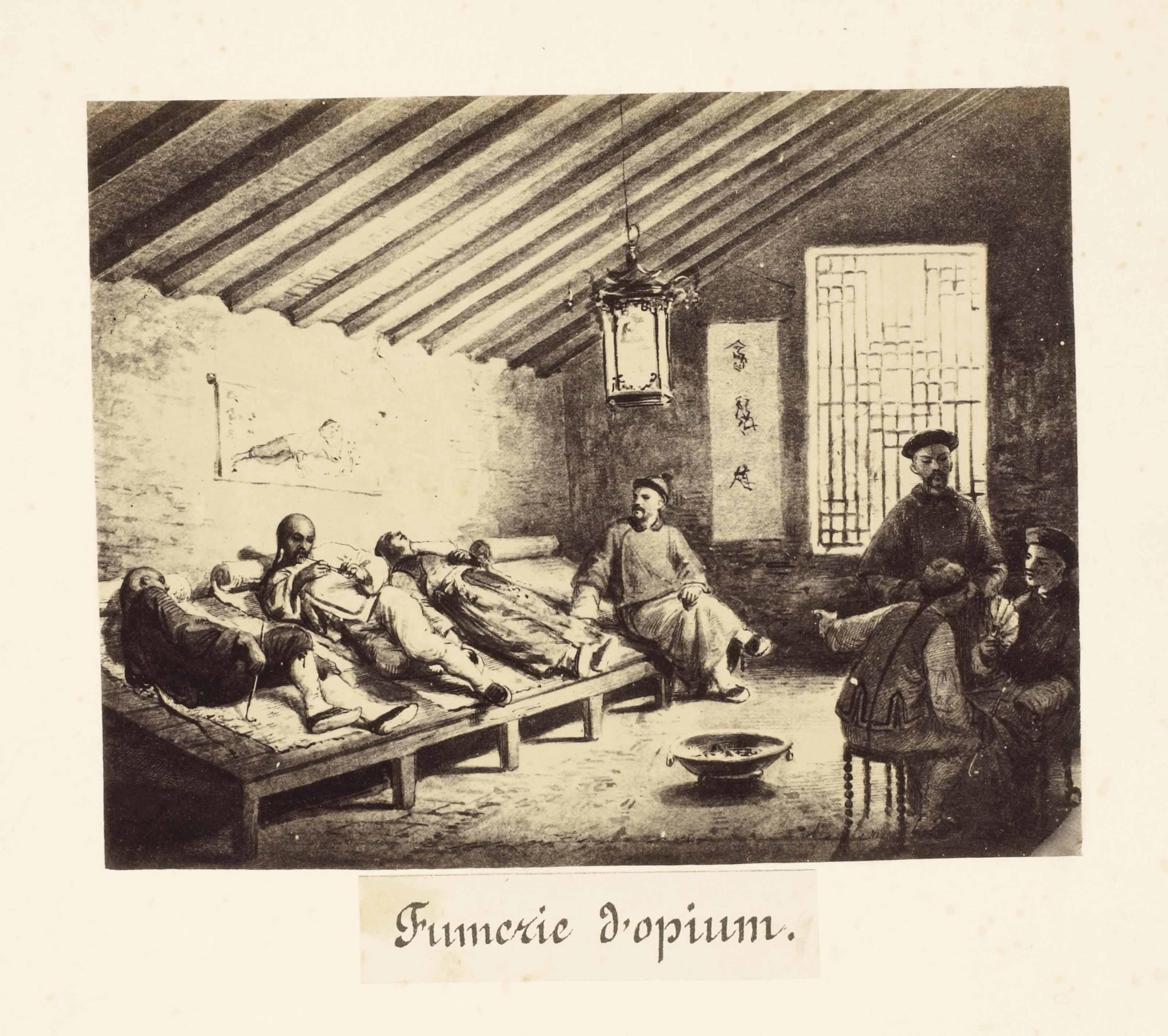 [PHOTOGRAPHIE] -- Album Chinois. Sans lieu: sans nom, (avant 1857). Album in-4 (277 x 210 mm). Un feuillet d'introduction lithographié. 41 tirages sur papier albuminée, montés sur carton. Percaline noire de l'éditeur ornée à froid, titre doré au plat supérieur.