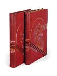 [VERTÈS] -- CARCO, Francis (1886-1958). L'Amour vénal. Pointes sèches de Vertès. Paris: Coulouma, 1926. 2 volumes (texte et suites) in-4 (248 x 184 mm). Illustré de 43 eaux-fortes de Vertès. Maroquin rouge de l'époque signé G. de Léotard 1927, décor style art déco sur les plats doré et au palladium, dos lisses ornés, tranches dorées, doublure de maroquin violet dorée, couverture et dos conservée, étuis assortis.