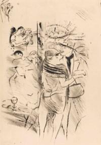 [VERTÈS] -- CARCO, Francis (1886-1958). L'Amour vénal. Pointes sèches de Vertès. Paris: Coulouma, 1926. 2 volumes (texte et suites) in-4 (249 x 190 mm). 43 eaux-fortes originales de Vertès: une vignette sur la couverture, un frontispice, une vignette sur le titre, 15 planches hors texte, 14 têtes de chapitres et 11 culs-de-lampe. Reliures uniformes signées M. P. Trémois, daim rouge dans un large bandeau de maroquin rouge, titre et nom dorés aux dos lisses, têtes dorées, couverture et dos conservés, chemises et étui assortis.