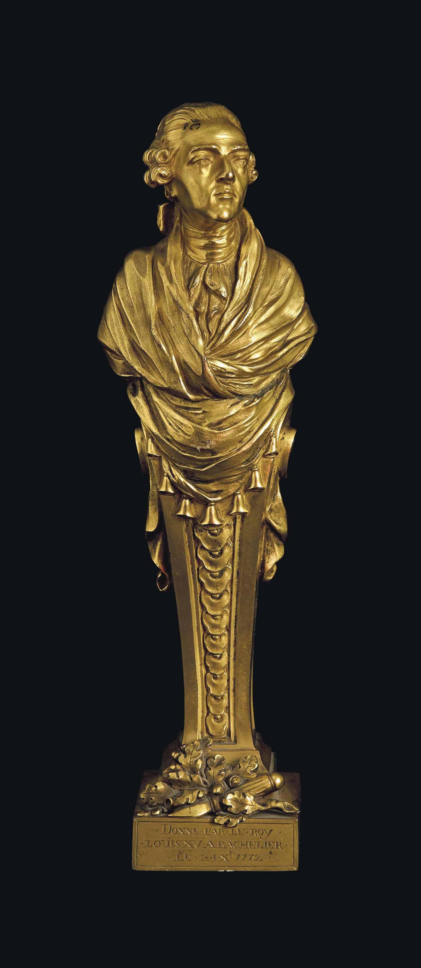 Buste Sur Pied Decoratif terme en bronze dore representant le buste de louis xv