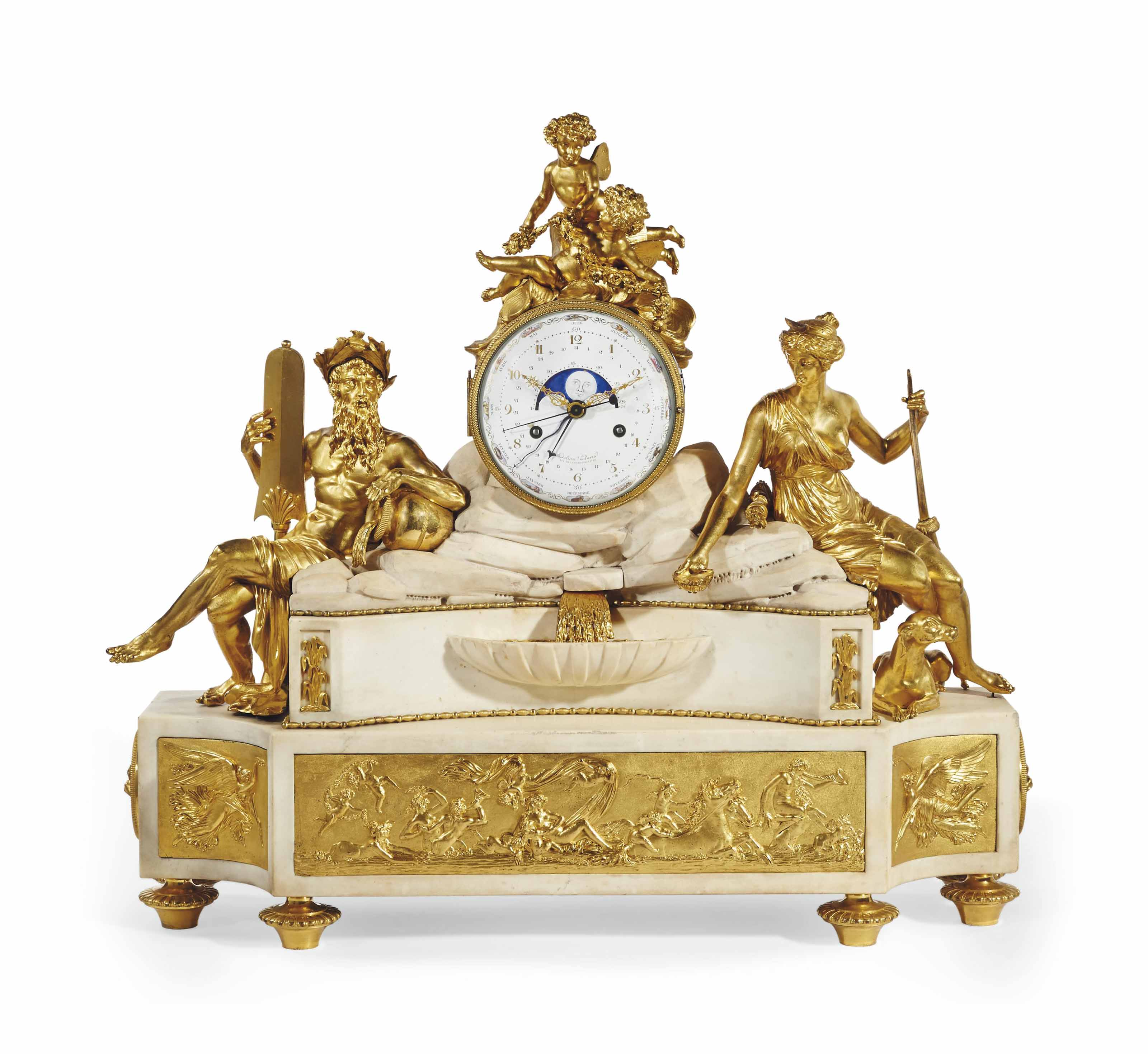 pendule monumentale de la fin de l 39 epoque louis xvi signature de deliau datee 1796 christie 39 s. Black Bedroom Furniture Sets. Home Design Ideas