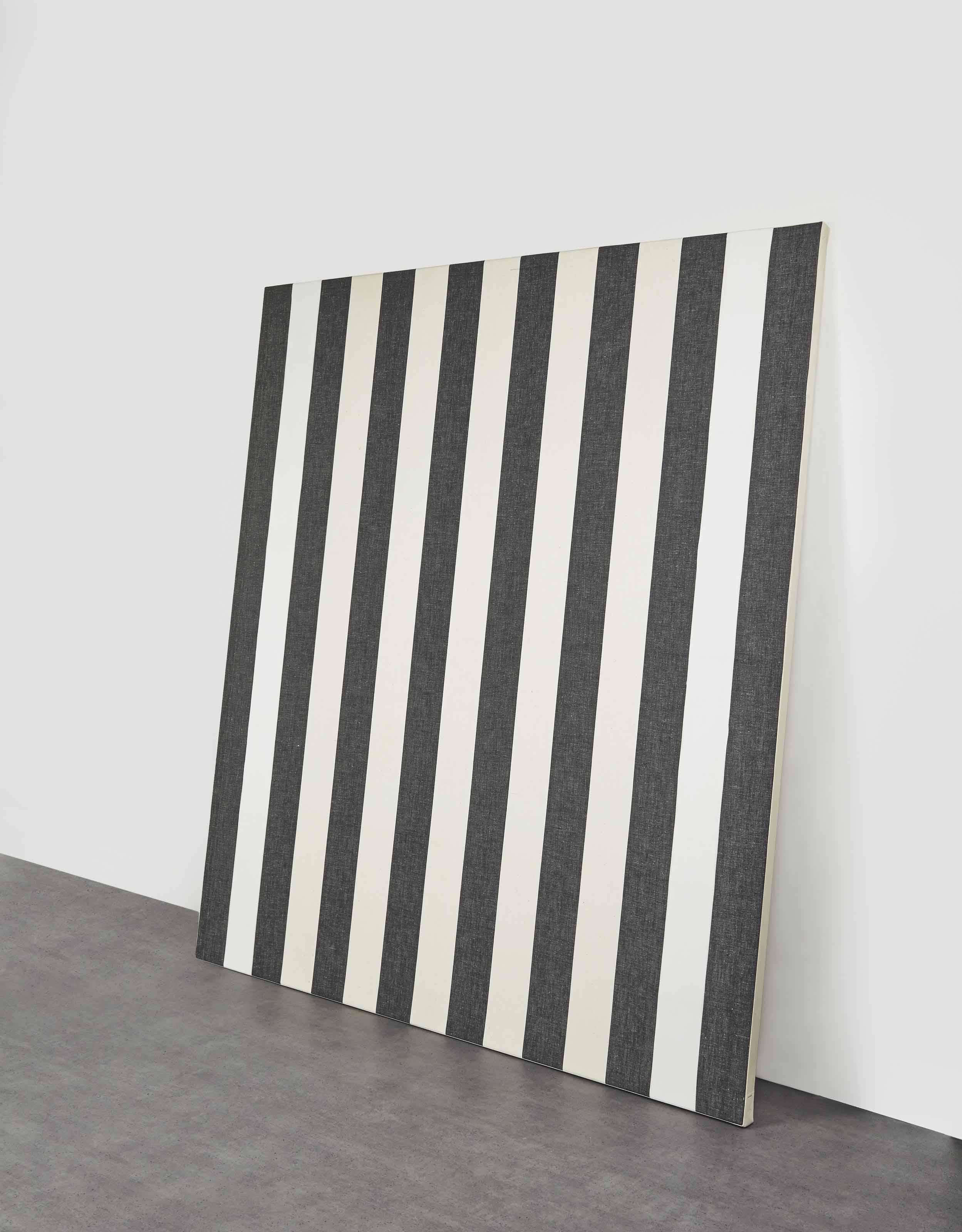 Peinture acrylique blanche sur tissu rayé blanc et noir