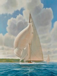 """""""Velsheda"""" off the coast of the Isle of Wight"""