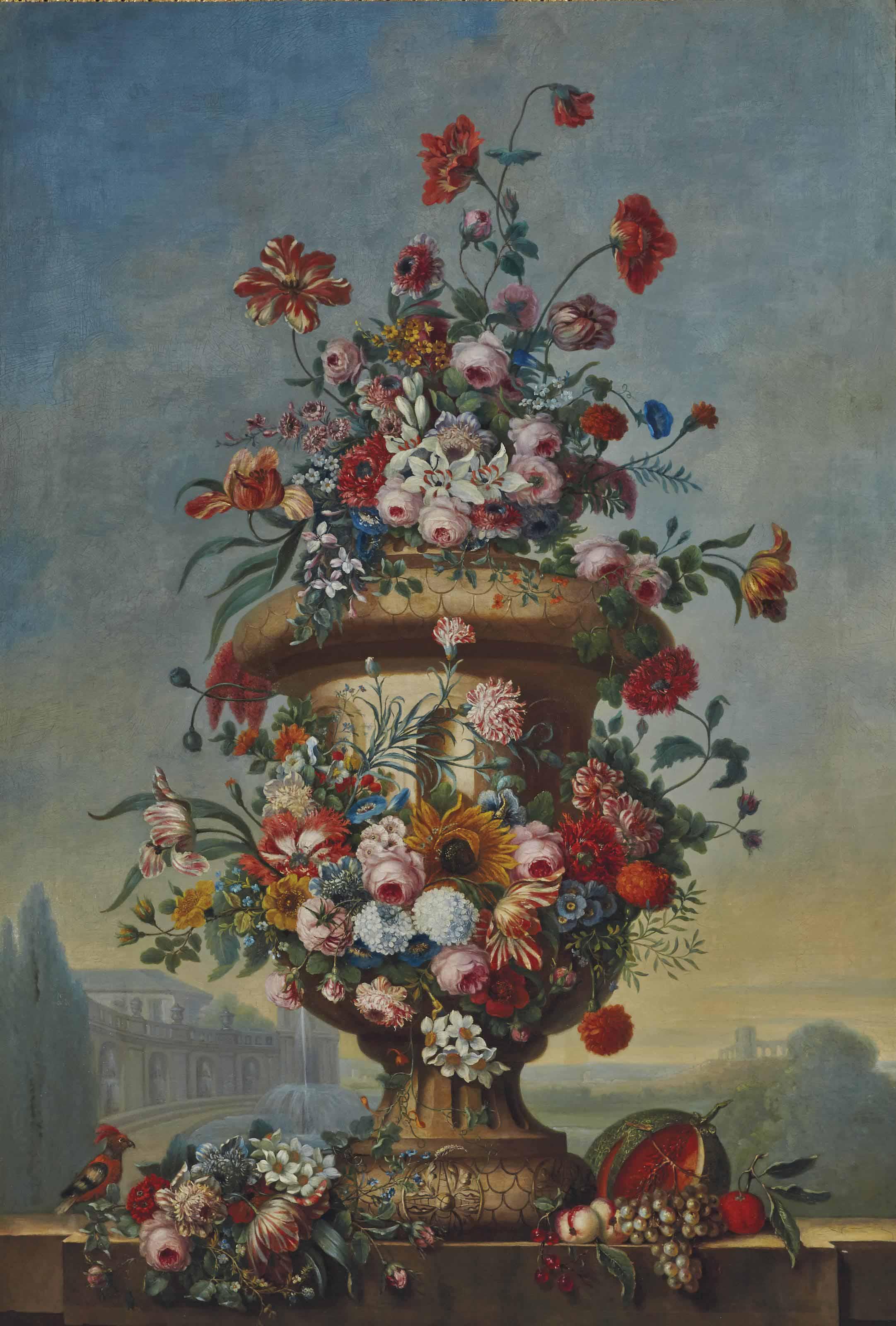 Vase de fleurs dans un paysage