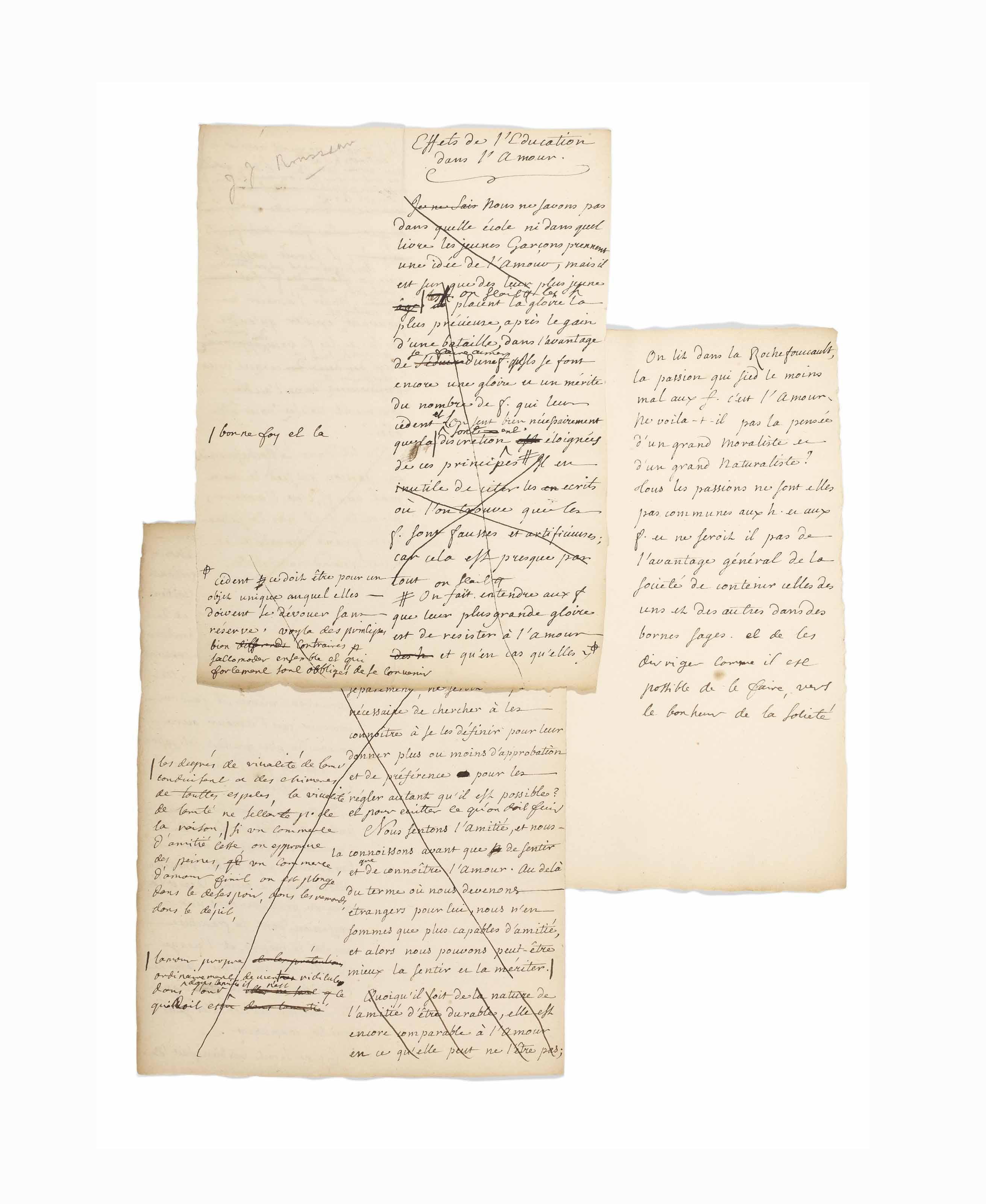 Jean-Jacques ROUSSEAU (1712-1778) & Louise Marie Madeleine DUPIN (1706-1799). Effets de l'éducation dans l'amour. Manuscrit autographe à deux mains, non signé, sans date [entre 1745 et 1749]. 3 feuillets in-4 (259 x 185 mm). Encre brune sur papier vergé, texte sur une colonne réservant une large marge à gauche pour les corrections et ajouts de Mme Dupin. Biffures et corrections.