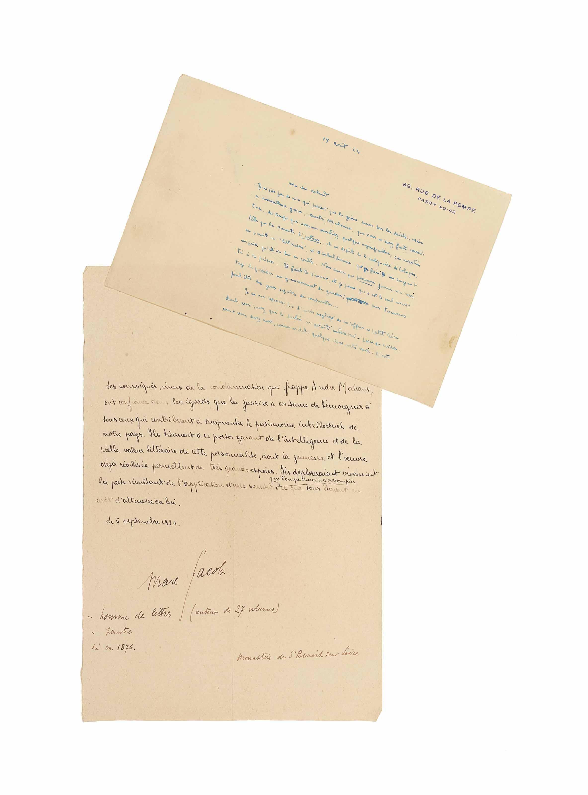 """[MALRAUX] -- MAURIAC, François (1885-1970). Lettre autographe signée, datée """"17 aôut 24"""", à Marcel Arland. Un feuillet in-12 (135 x 209 mm). Encre turquoise sur papier à son adresse """"89, rue de la Pompe  Passy 40-42""""."""