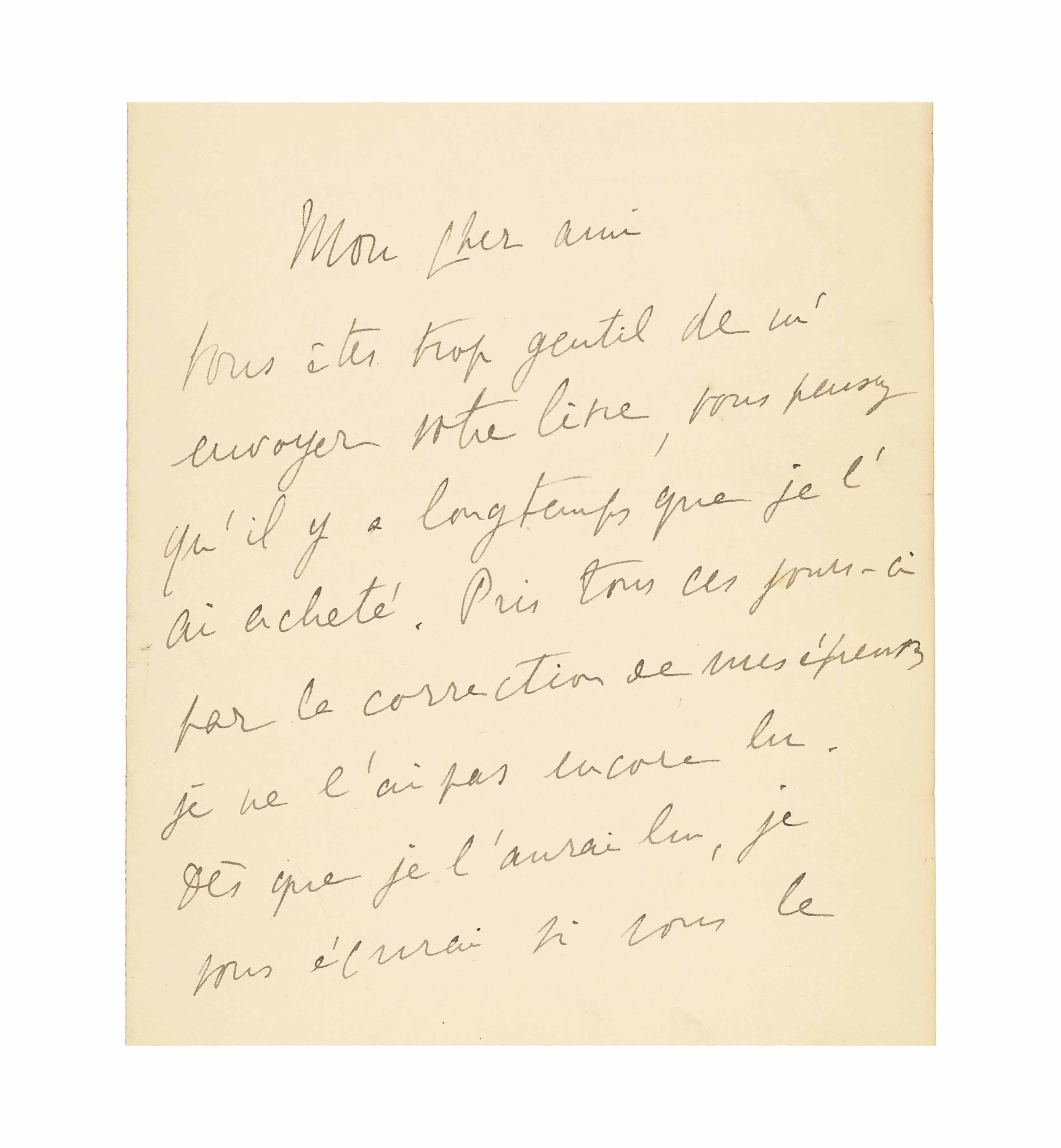 Marcel PROUST (1871-1922). Let