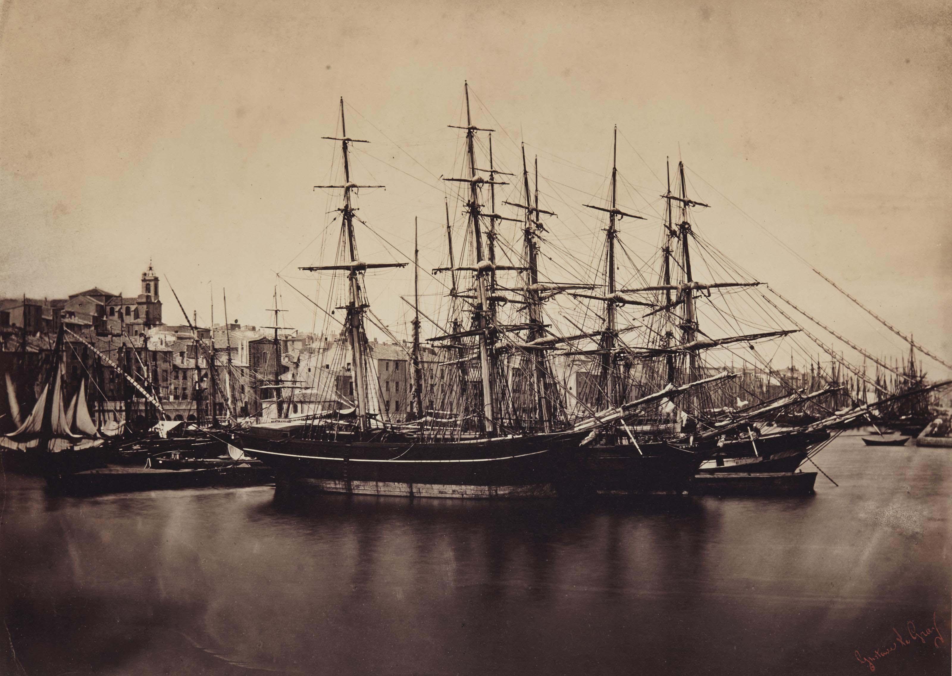 Groupe de navires - Cette (Sète), Méditerranée, 1857