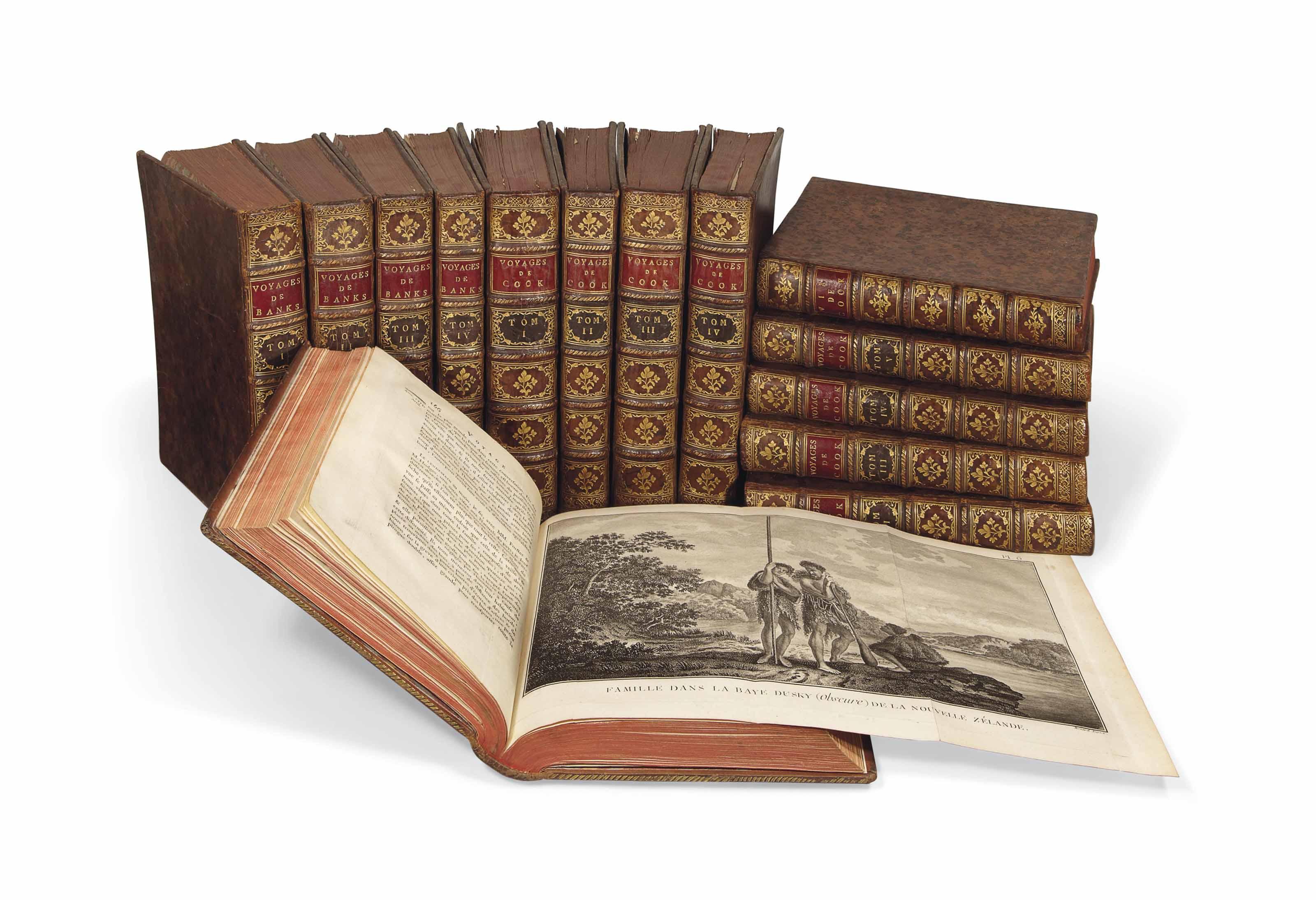 COOK, James (1728-1779). Relation des voyages entrepris pour faire des découvertes dans l'hémisphère méridional. -- Voyage dans l'hémisphère austral et autour du monde, fait en 1772-1775. -- Troisième voyage de Cook, ou voyage à l'océan Pacifique exécuté en 1777-1780. Paris: Saillant & Nyon, Panckoucke, 1774-1785.