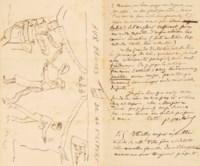 Paul VERLAINE. Lettre autographe signée à Irénée Decroix. Stickney: 8 octobre 1875. 3 pages in-8 (180 x 113 mm) dont une de dessins.