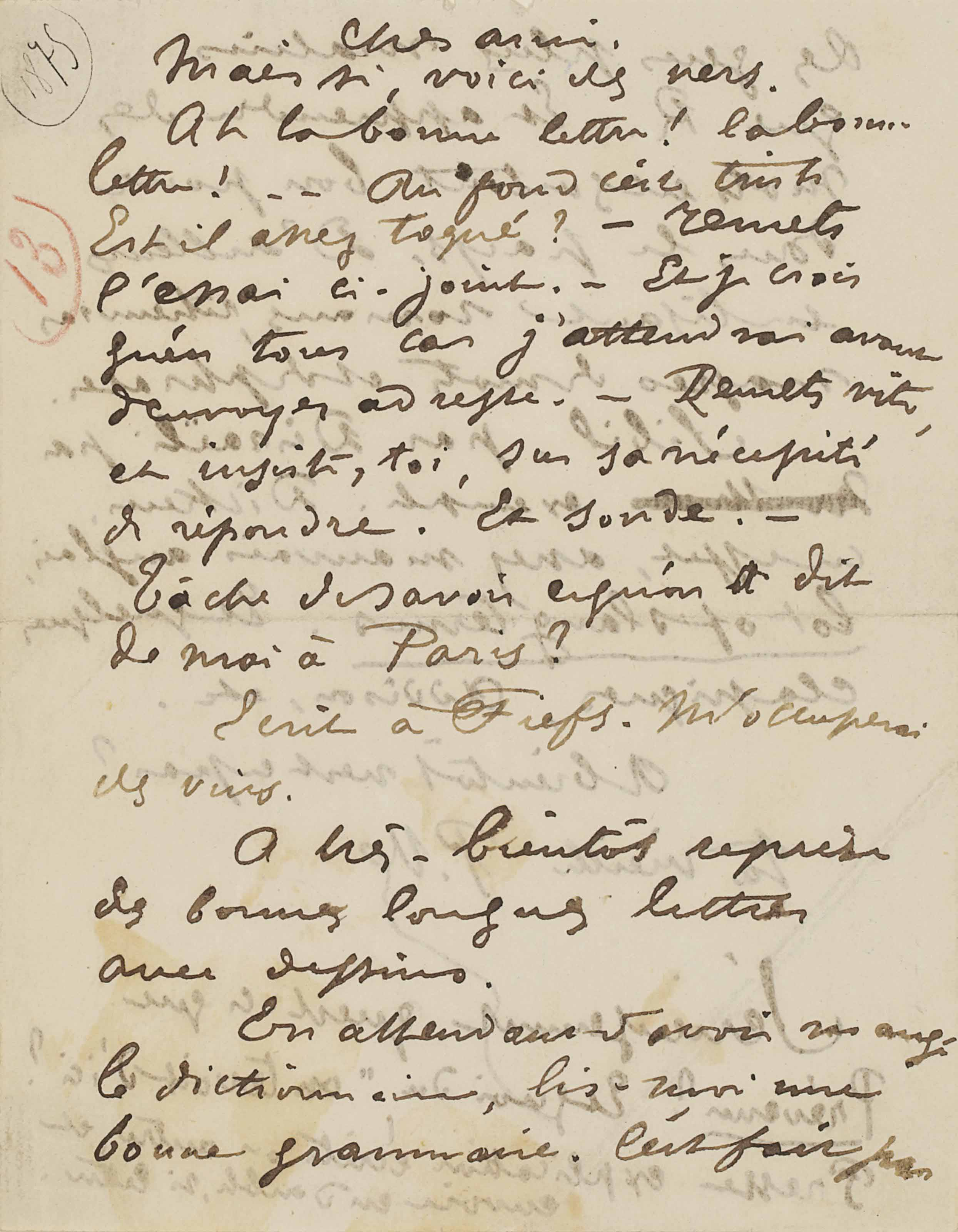 Paul VERLAINE. Lettre autographe signée P. V. [à Ernest Delahaye]. [Stickney: début d'octobre (?) 1875.] 2 pages in-8 (130 x 102 mm).