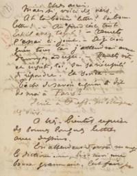 Paul VERLAINE. Lettre autographe signée P. V. [à Ernest Delahaye]. [Stickney: début d'octobre (?) 1875.] 2 pages in-8 (130 x 102 mm).