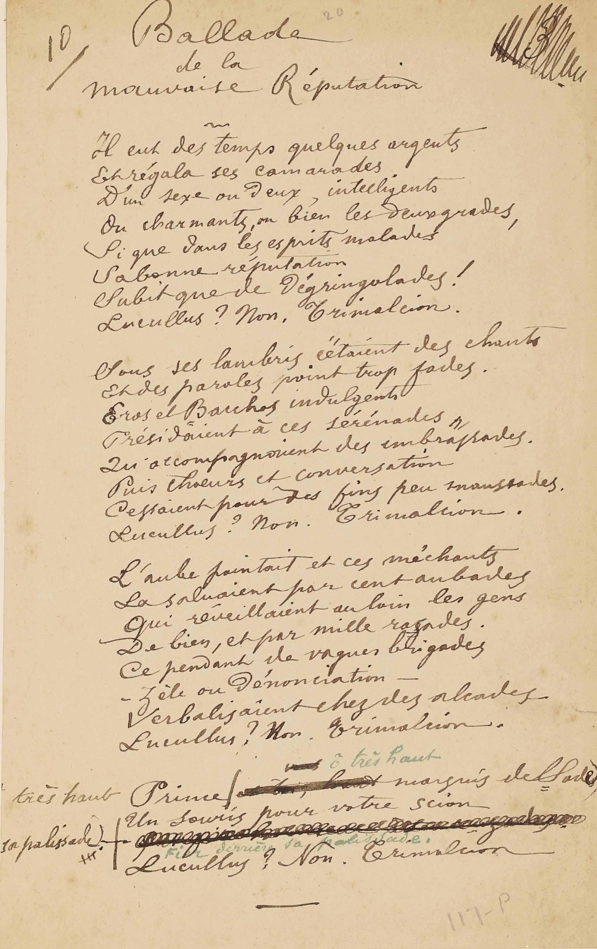Paul VERLAINE. Ballade de la mauvaise réputation. Poème autographe en vingt-huit vers. [Paris (?): décembre 1885 (?)]. Une page in-8 (193 x 123 mm).