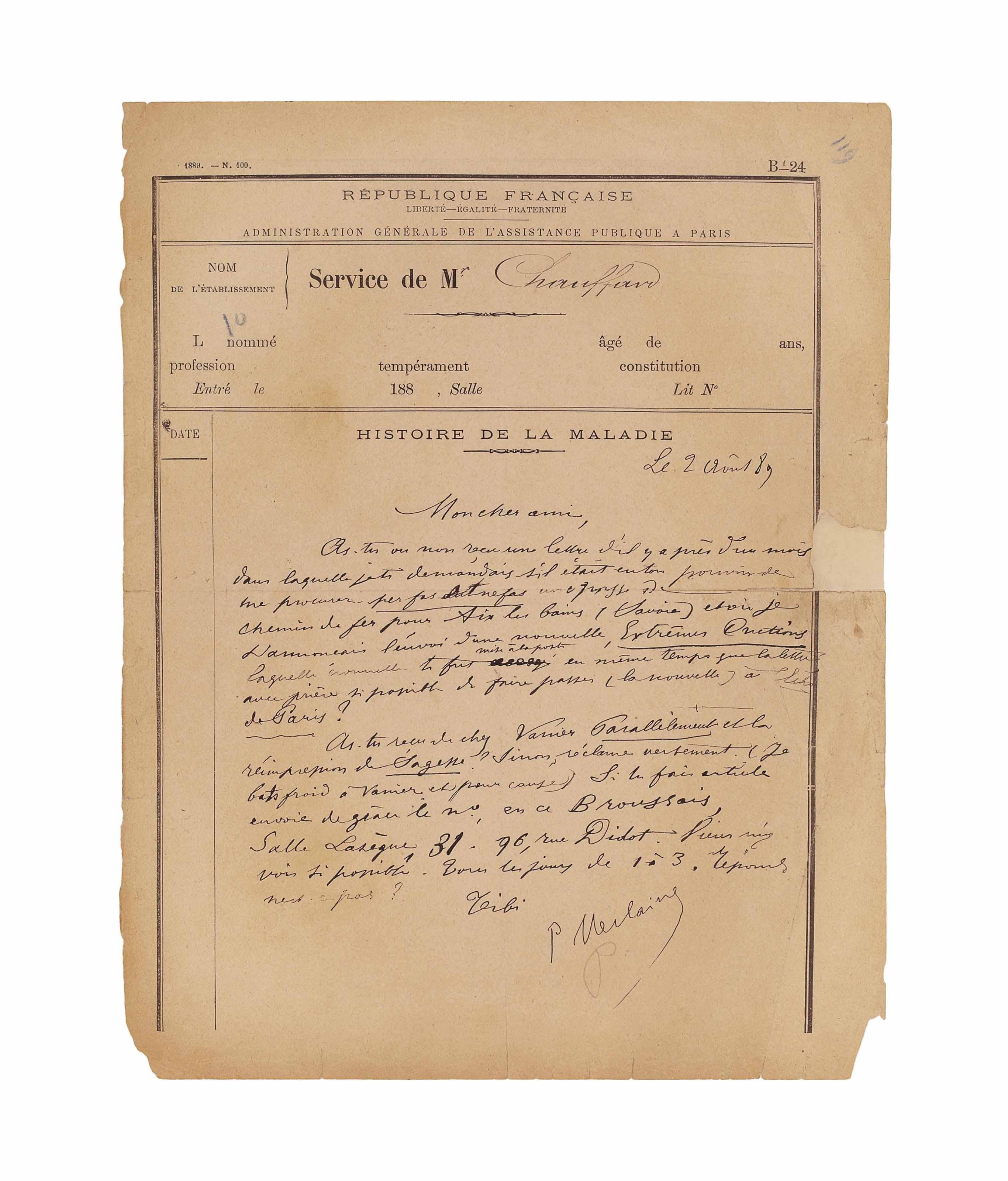 Paul VERLAINE. Deux lettres autographes signées à Edmond Lepelletier.