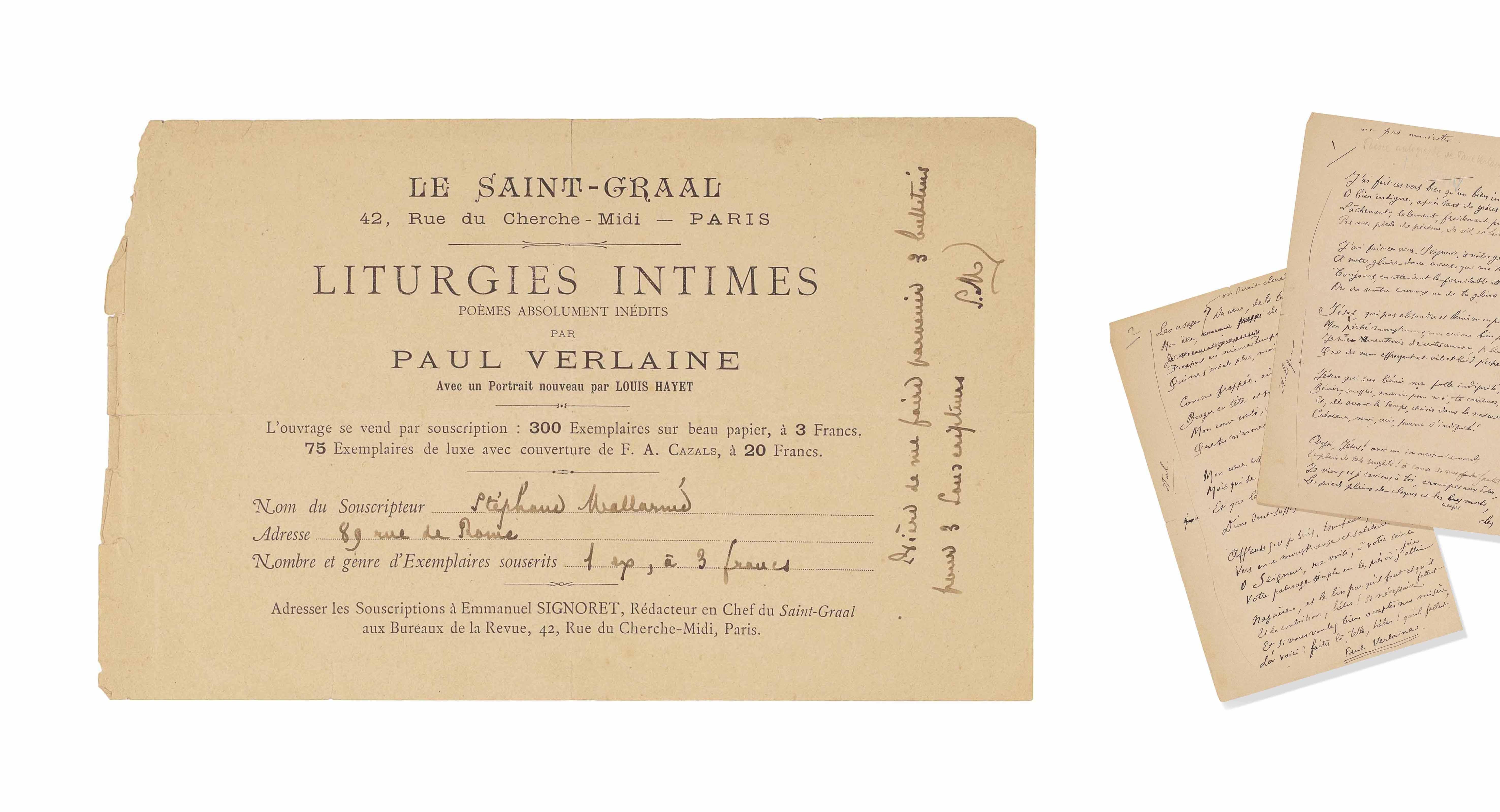 Paul VERLAINE. Liturgies intim