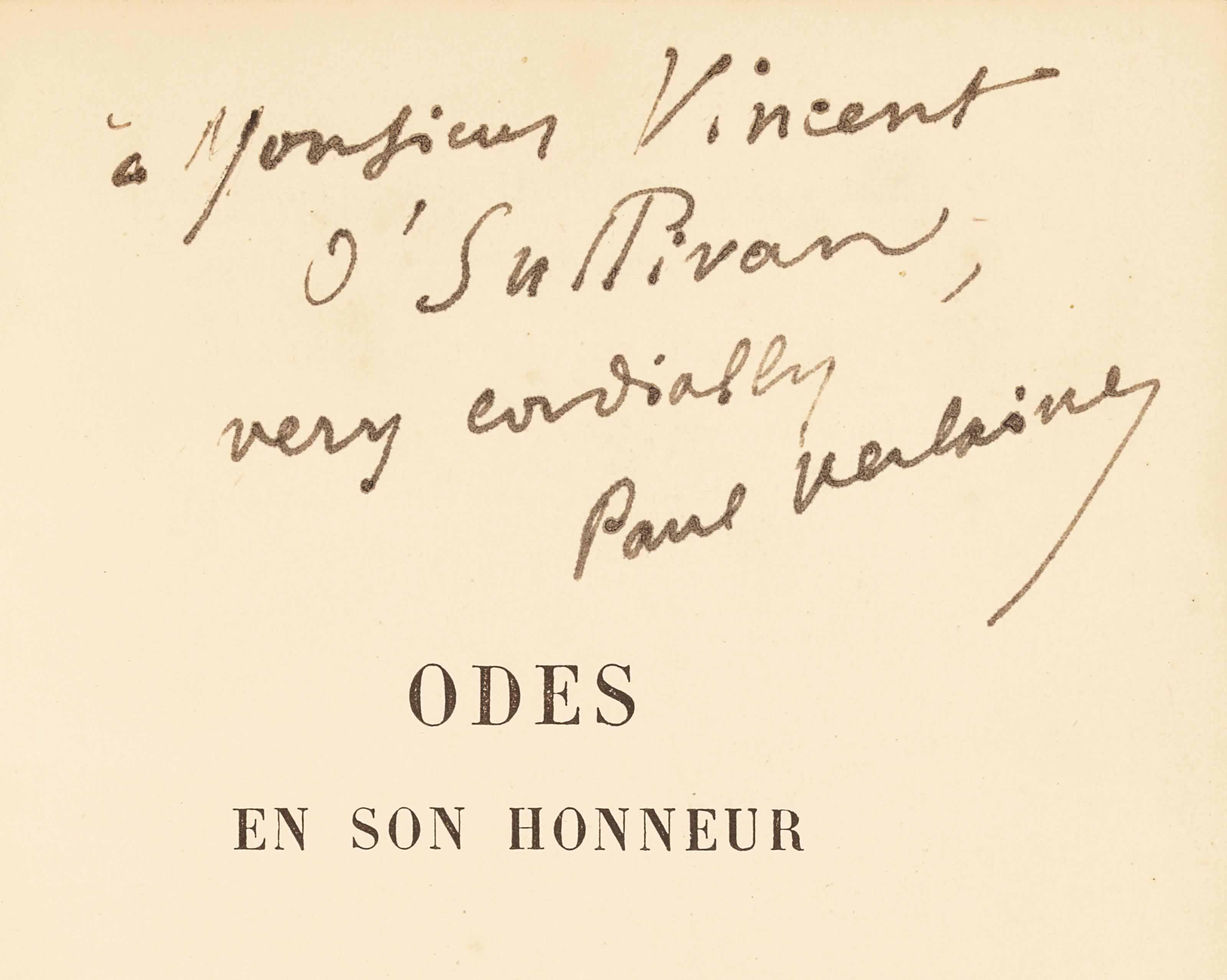 Paul VERLAINE. Odes en son honneur. Paris: Léon Vanier, 1893. In-12 (182 x 114 mm). Demi-maroquin brun à coins signé Morrell Binder, dos à nerfs, tête dorée, non rogné.