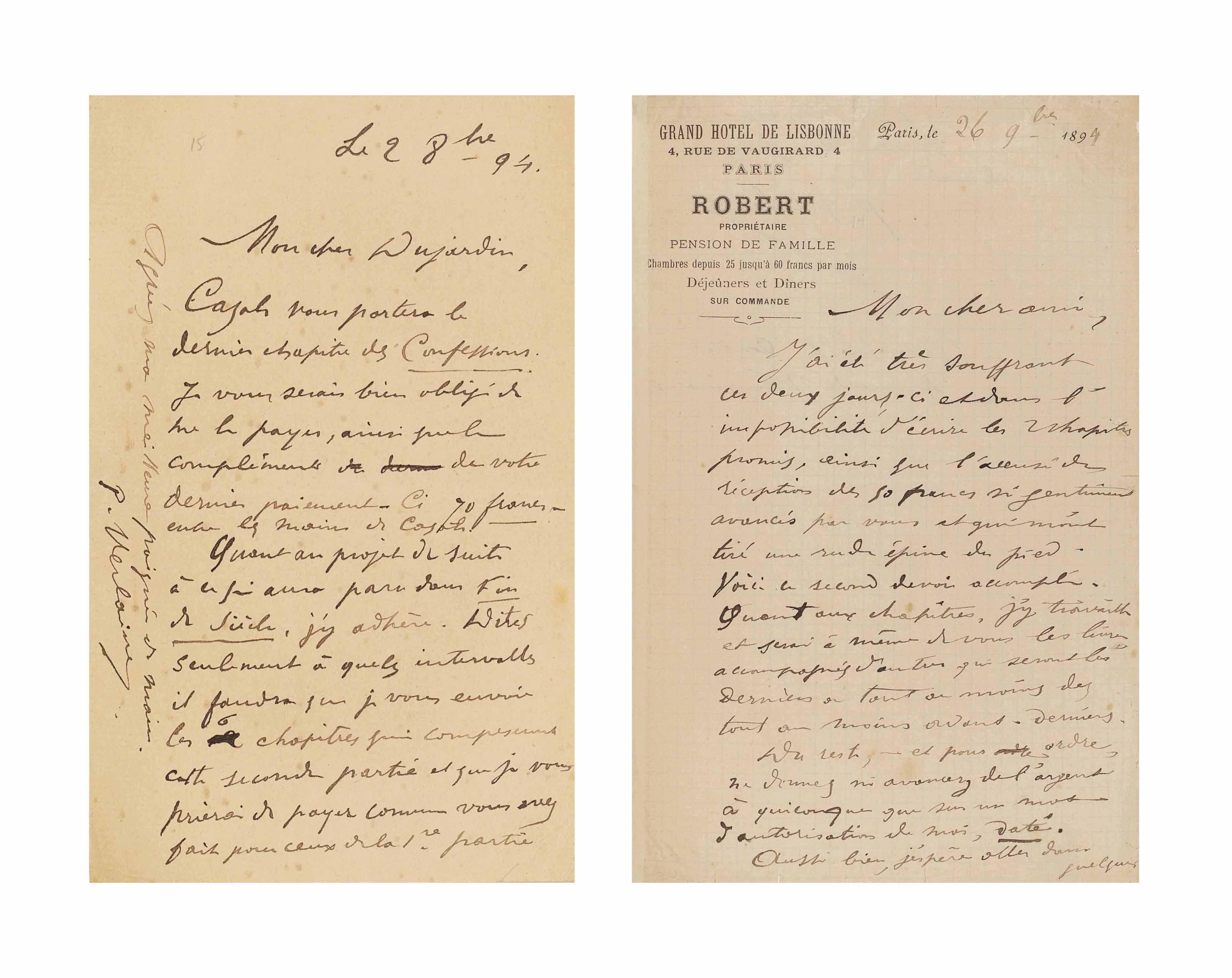 Paul VERLAINE. Réunion de deux lettres autographes signées à Édouard Dujardin. [Paris]: 2 octobre et 26 novembre 1894. Une page in-12 (173 x 112 mm) et une page et demie in-8 (213 x 134 mm).