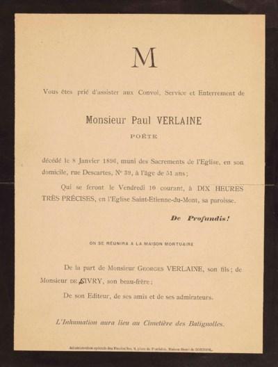 [ANNONCE DU DÉCÈS DE PAUL VERL
