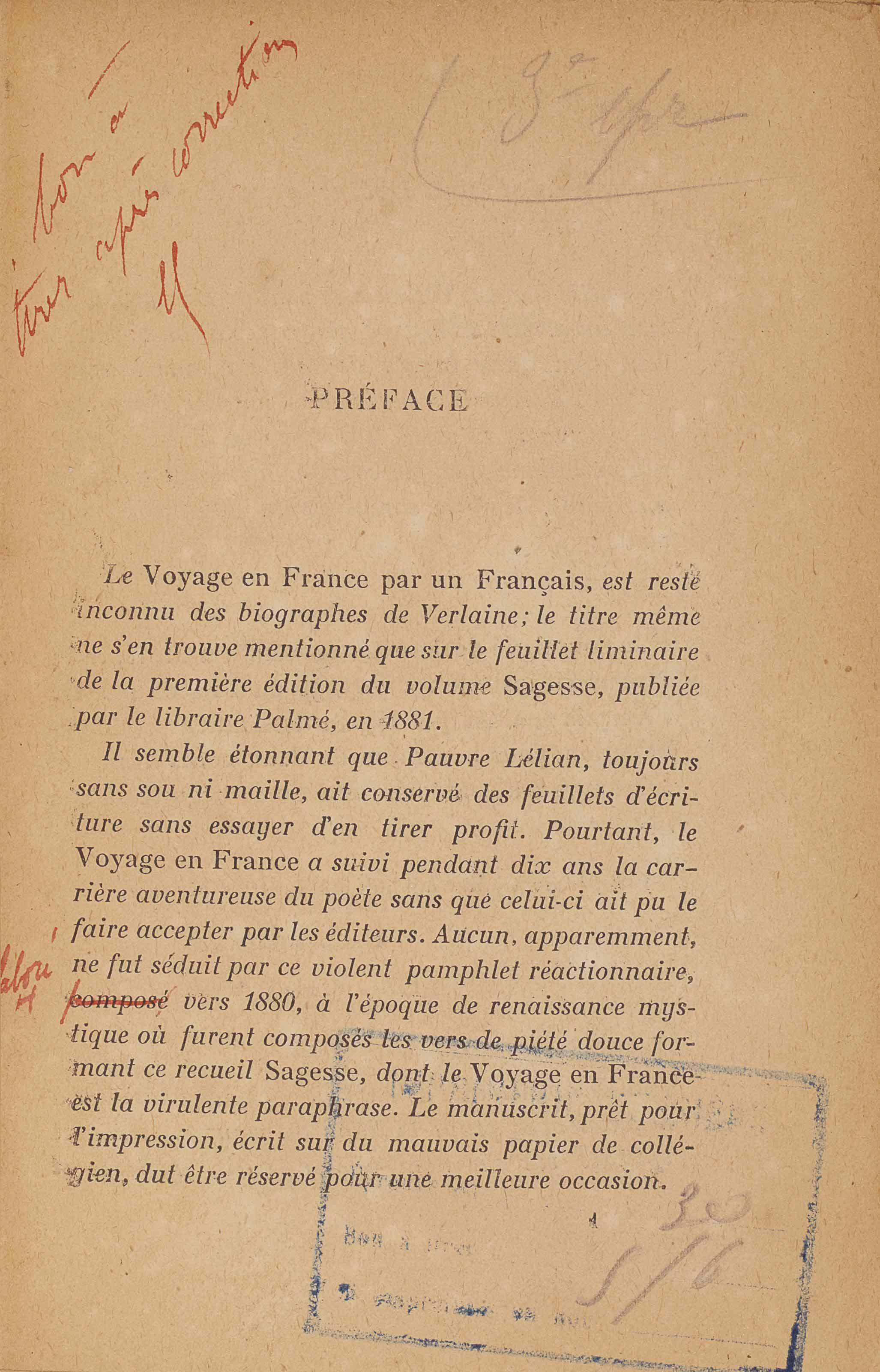 Paul VERLAINE. Voyage en Franc