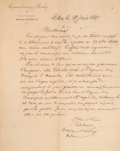 Arthur RIMBAUD. Lettres de Jea