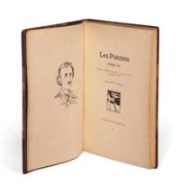 [Stéphane MALLARMÉ, trad. -- Édouard MANET, ill.] -- Edgar POE. Les Poèmes. Bruxelles: Edmond Deman, 1897 [1888]. Petit in-4 (285 x 190 mm). Portrait-frontispice de Poe et un fleuron par Édouard Manet. Demi-maroquin brun à coins signé Ch. de Samblanx, dos à nerfs orné, couverture.