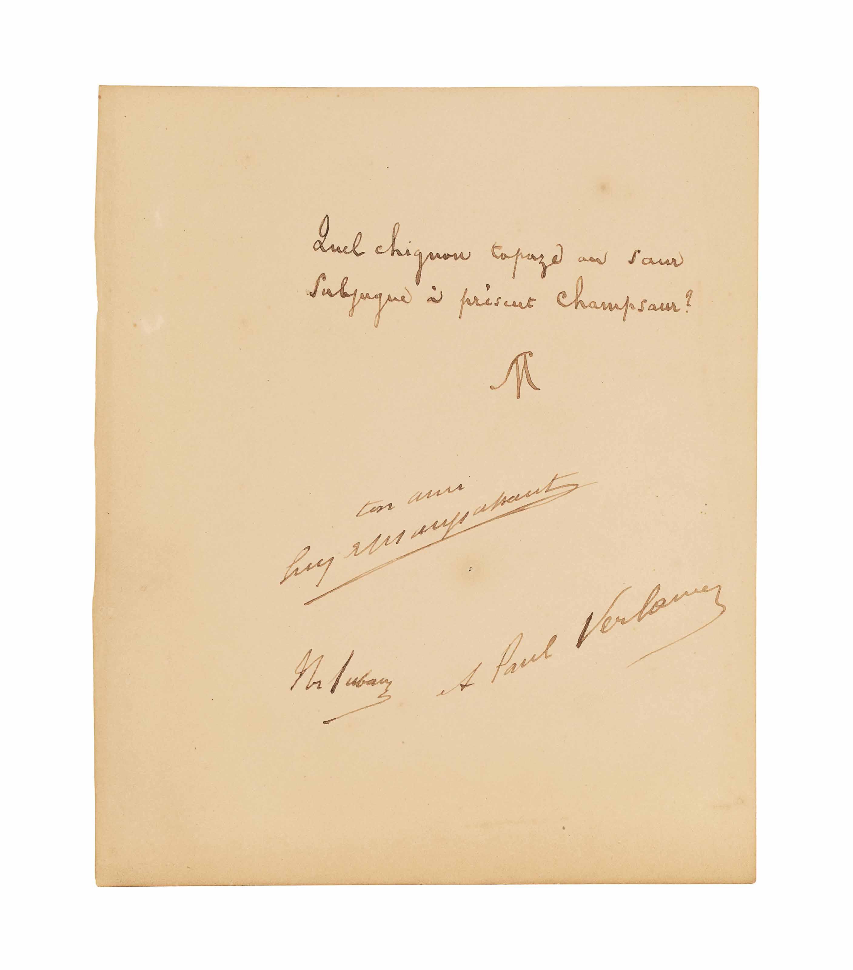 Stéphane MALLARMÉ. Distique autographe signé de son monogramme et contresigné par Guy de Maupassant, Théodore Aubanel et Paul Verlaine. [Paris: vers 1890 (pas après)]. Une page sur un feuillet petit in-4 de papier vélin crème (195 x 160 m).