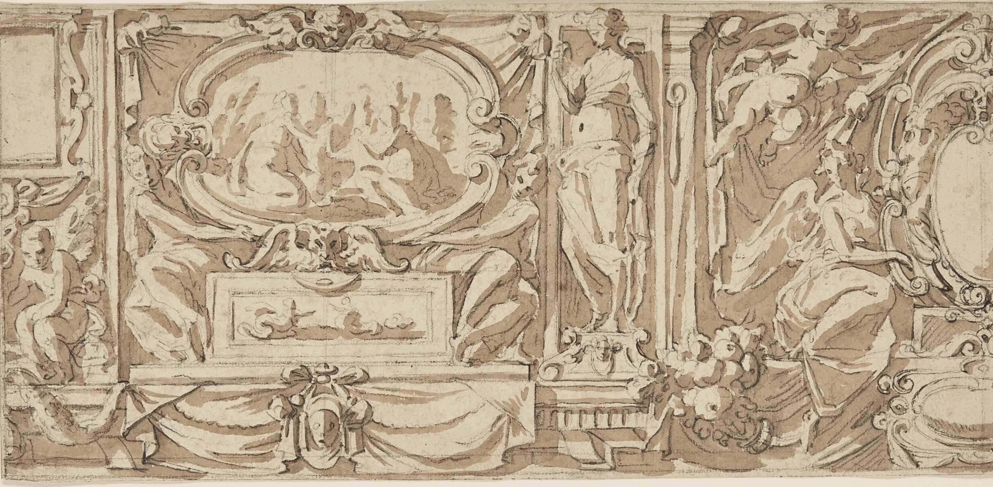 ECOLE ROMAINE VERS 1620 , Décoration pariétale avec scènes