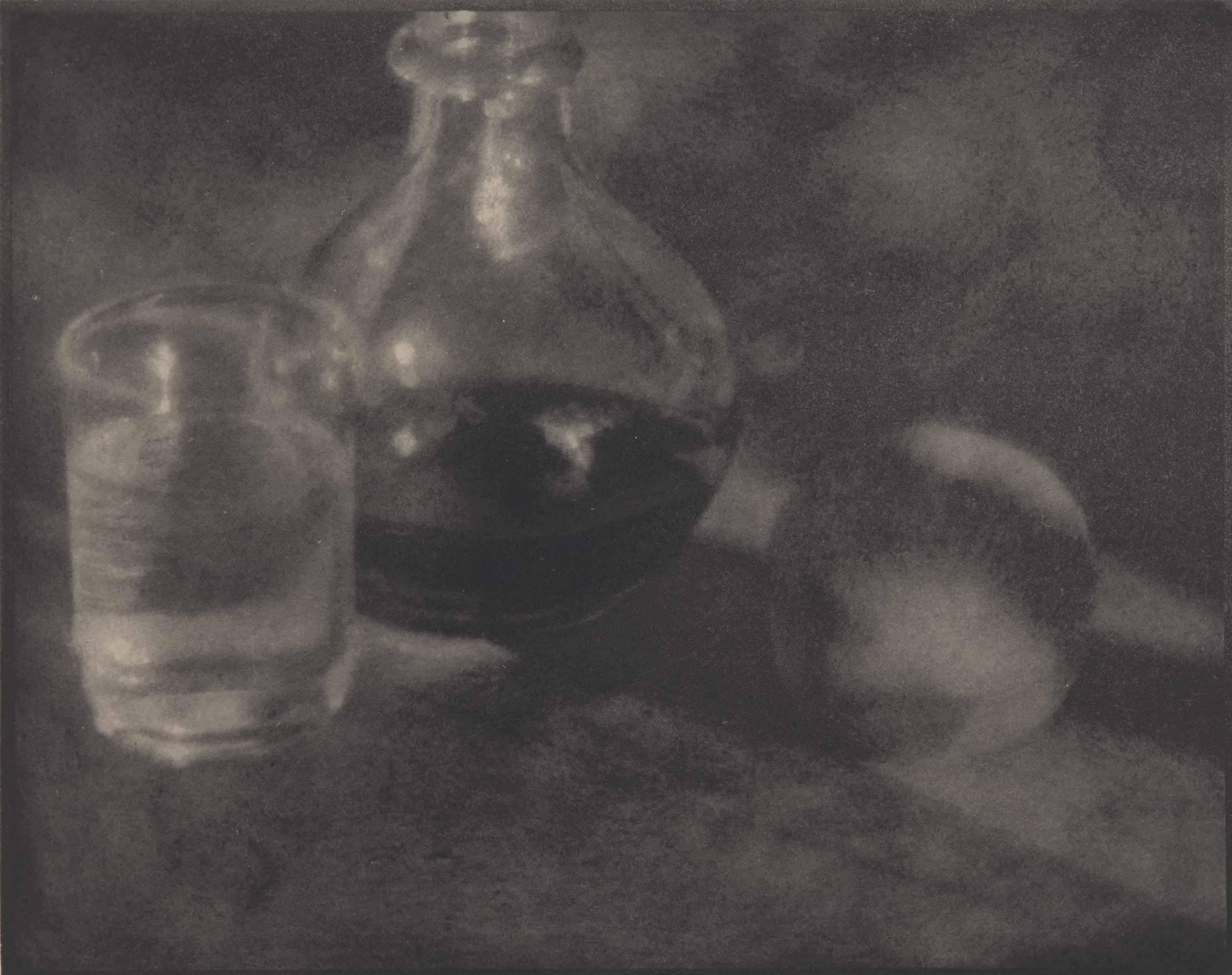Karaffe, Glas und Pfirsich, vers 1911
