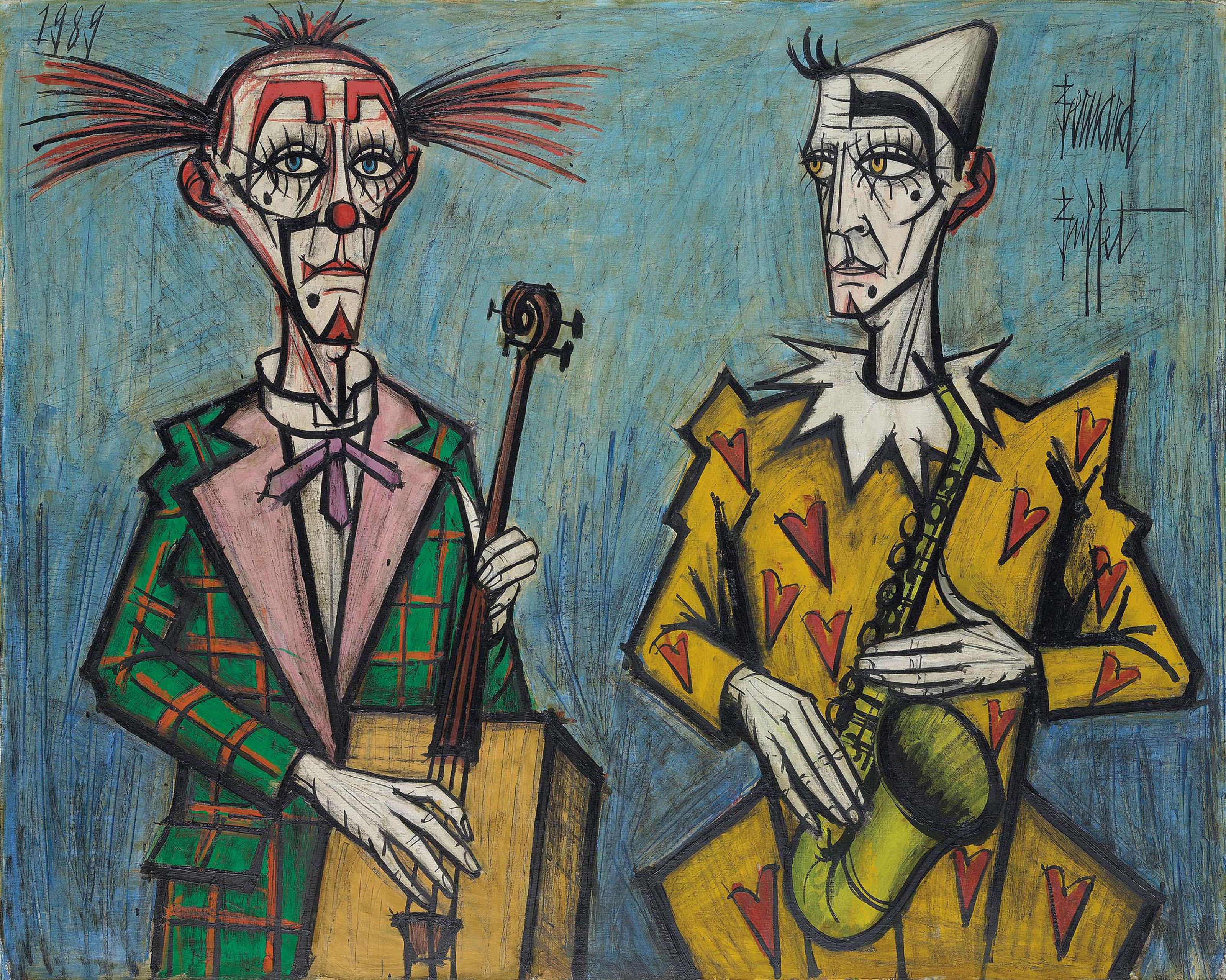 Deux clowns, saxophone